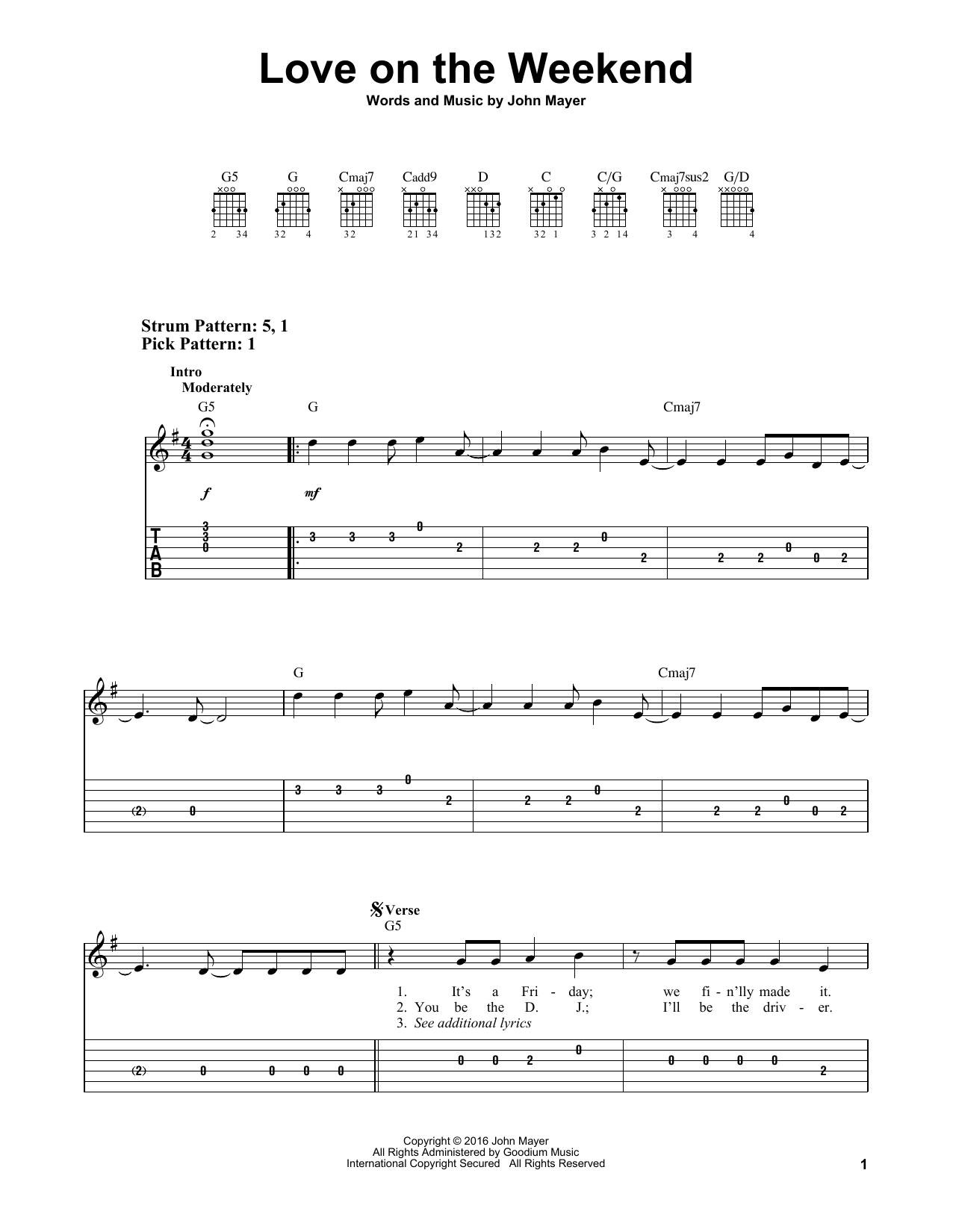 Love On The Weekend (Easy Guitar Tab)