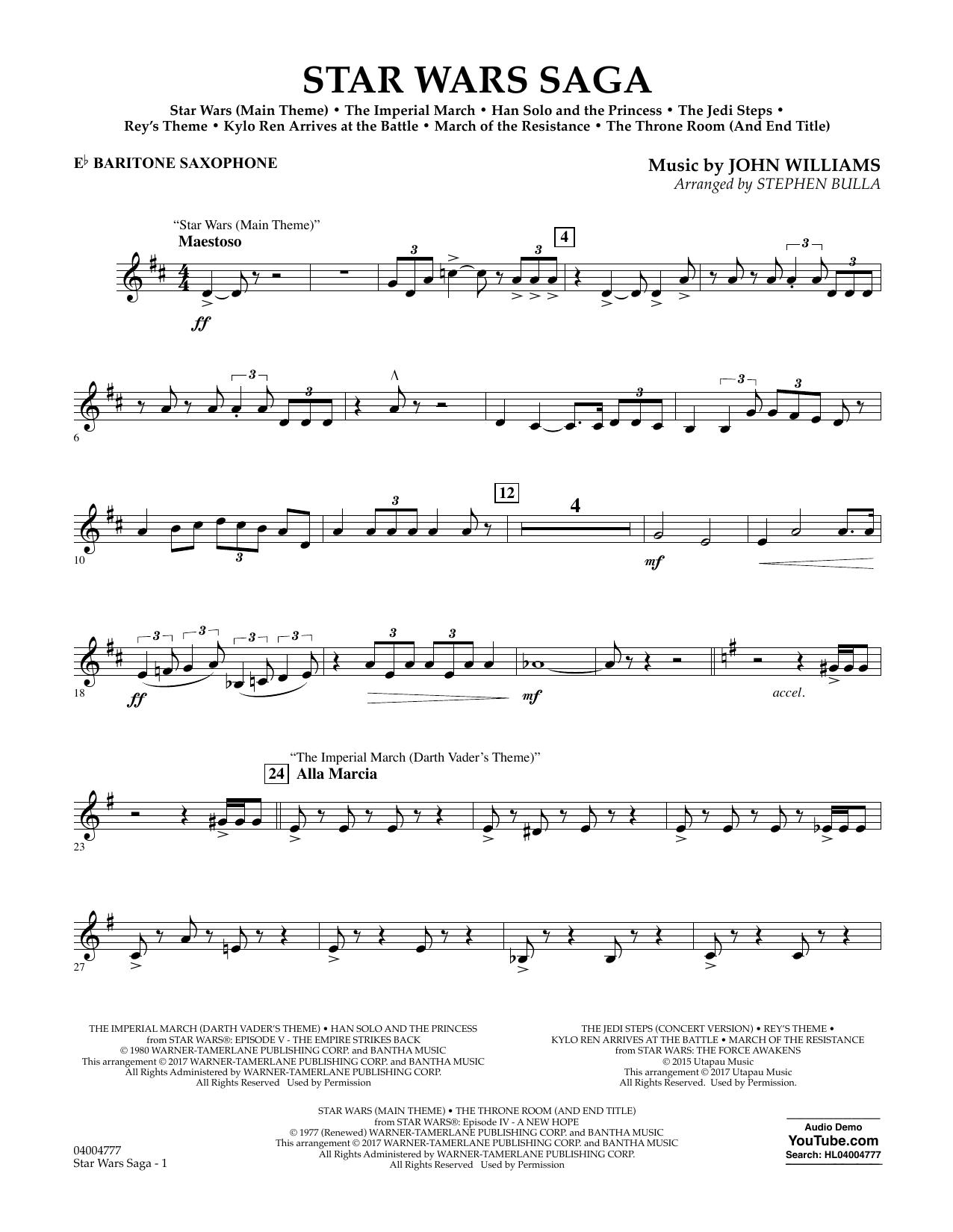 Star Wars Saga - Eb Baritone Saxophone Sheet Music