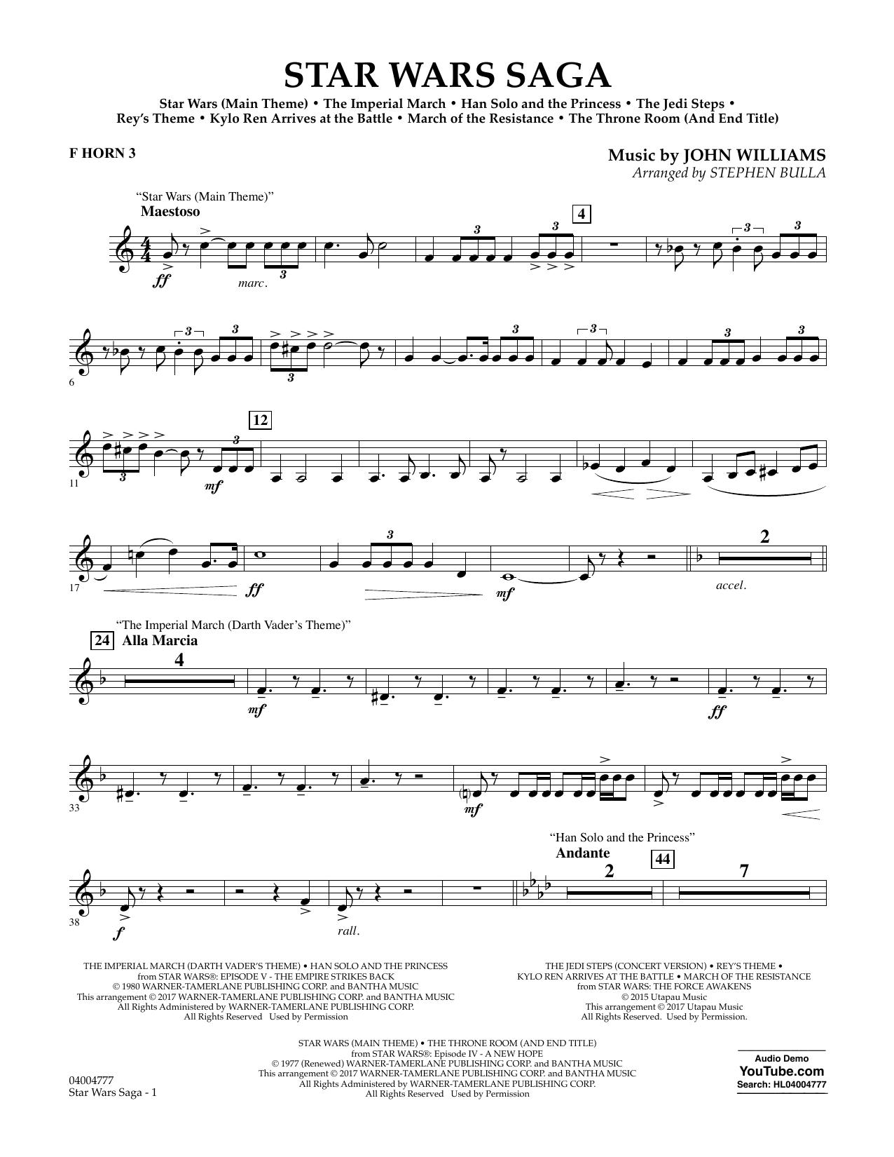 Star Wars Saga - F Horn 3 Sheet Music