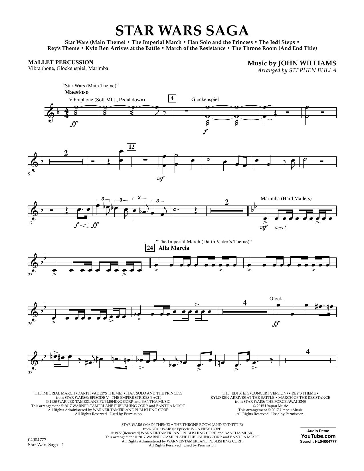 Star Wars Saga - Mallet Percussion Sheet Music