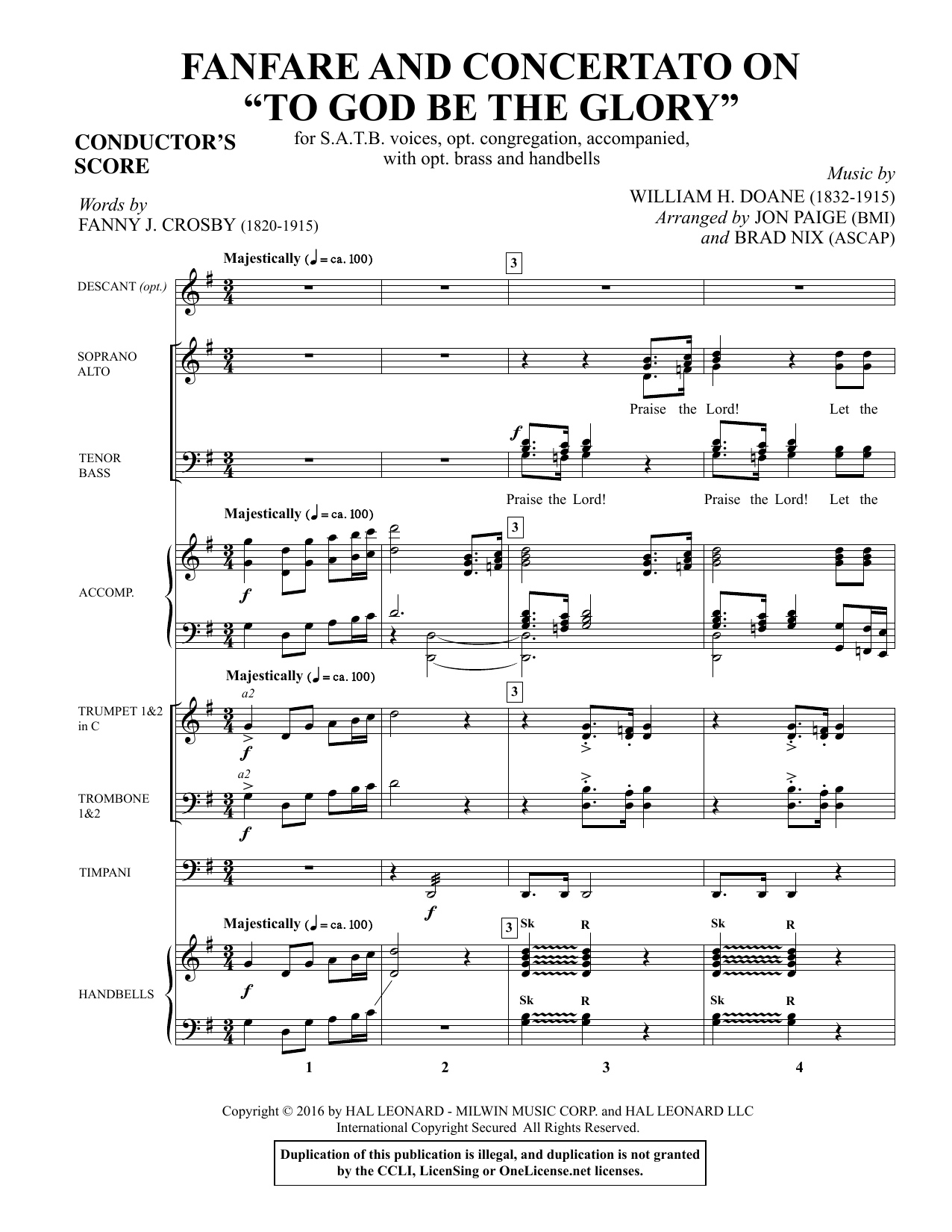 "Fanfare and Concertato on ""To God Be the Glory"" - Full Score Sheet Music"
