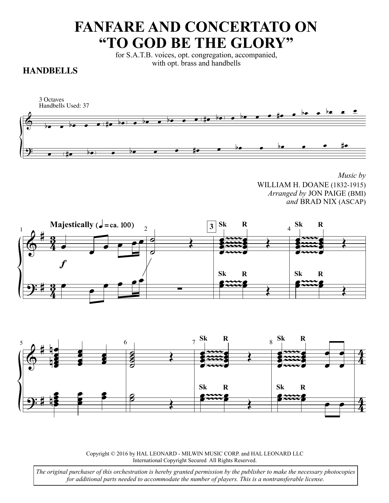 "Fanfare and Concertato on ""To God Be the Glory"" - Handbells Sheet Music"