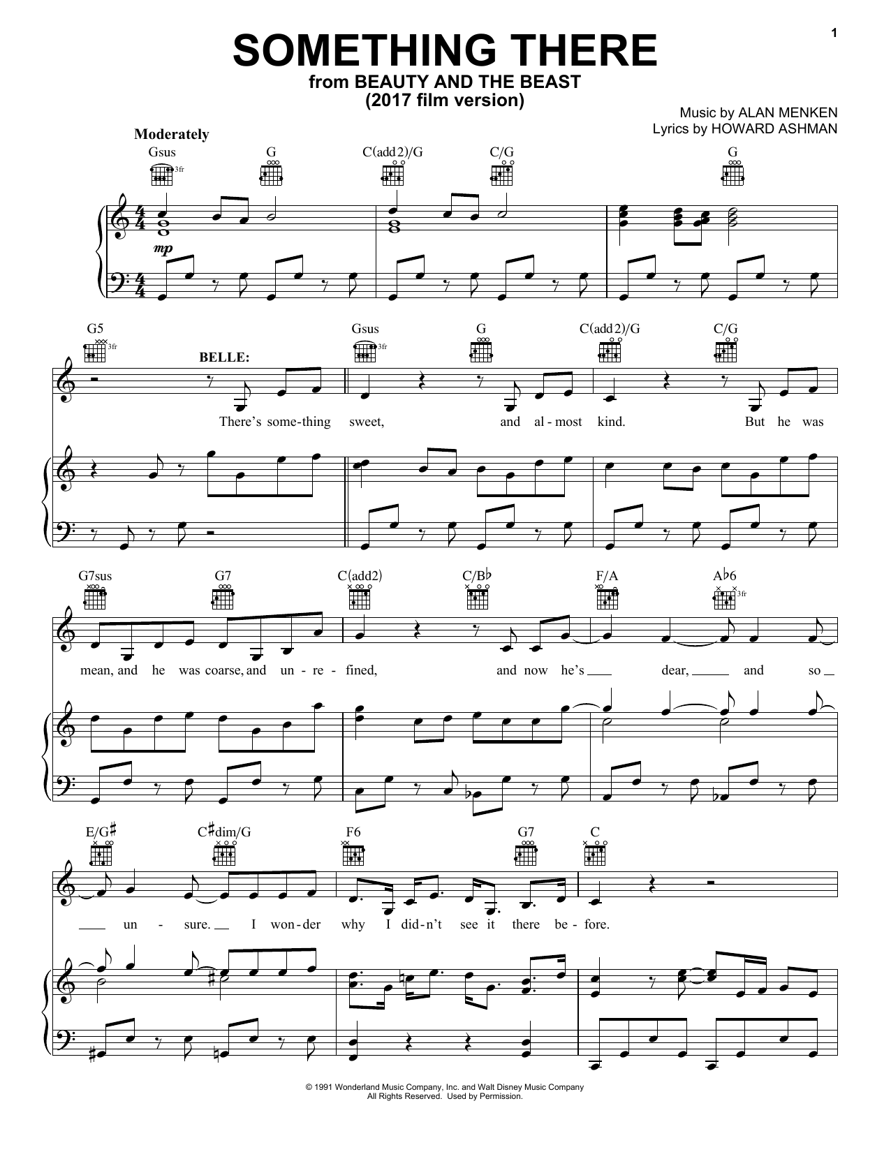 Something There (from Beauty And The Beast) (Piano, Vocal & Guitar (Right-Hand Melody))