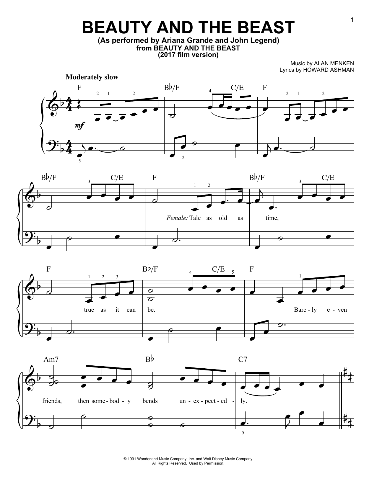 Beauty And The Beast (Easy Piano)