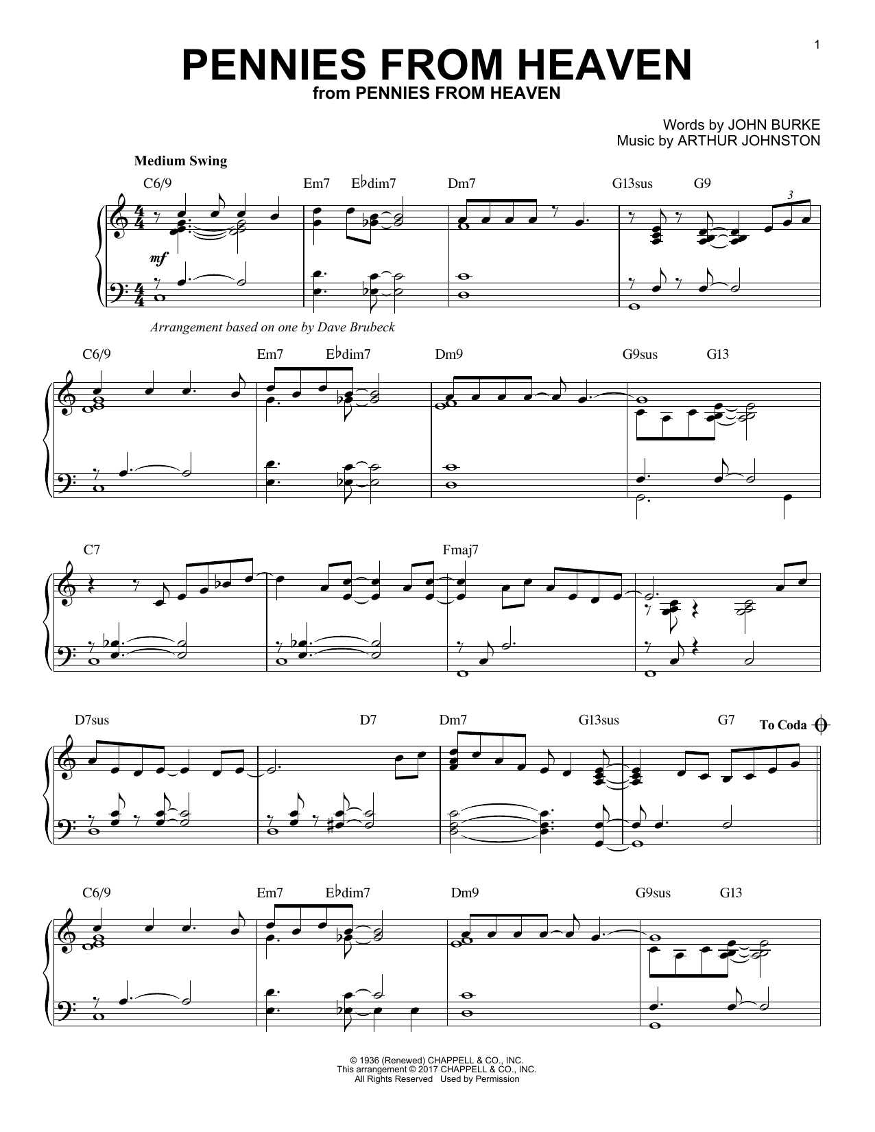 Pennies From Heaven (Piano Solo)