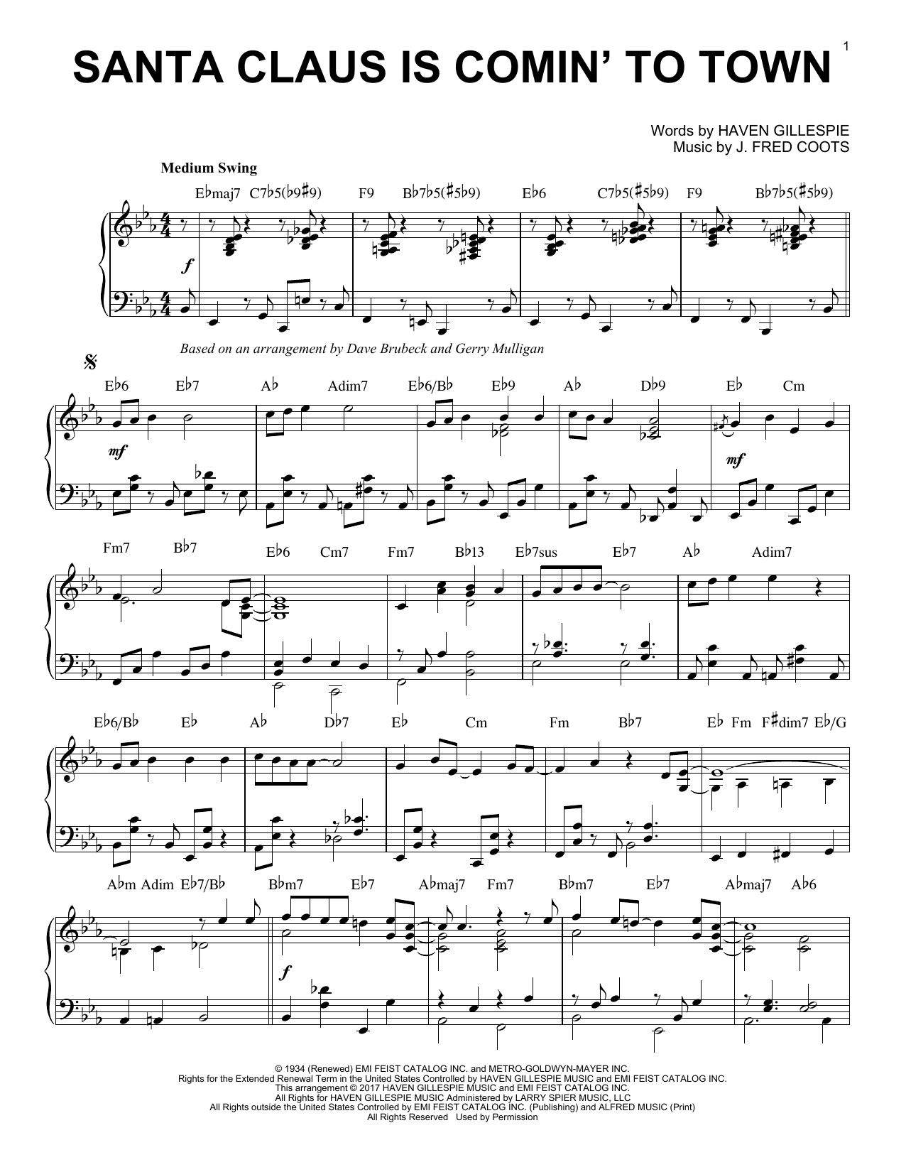 Santa Claus Is Comin' To Town (Piano Solo)