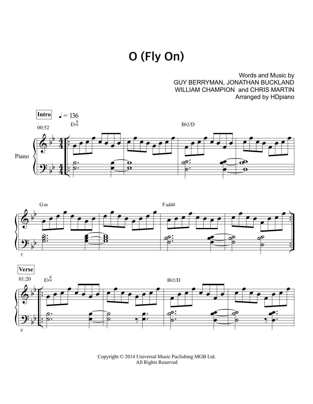 O Fly On Coldplay O (Fly On) | Sheet Mus...