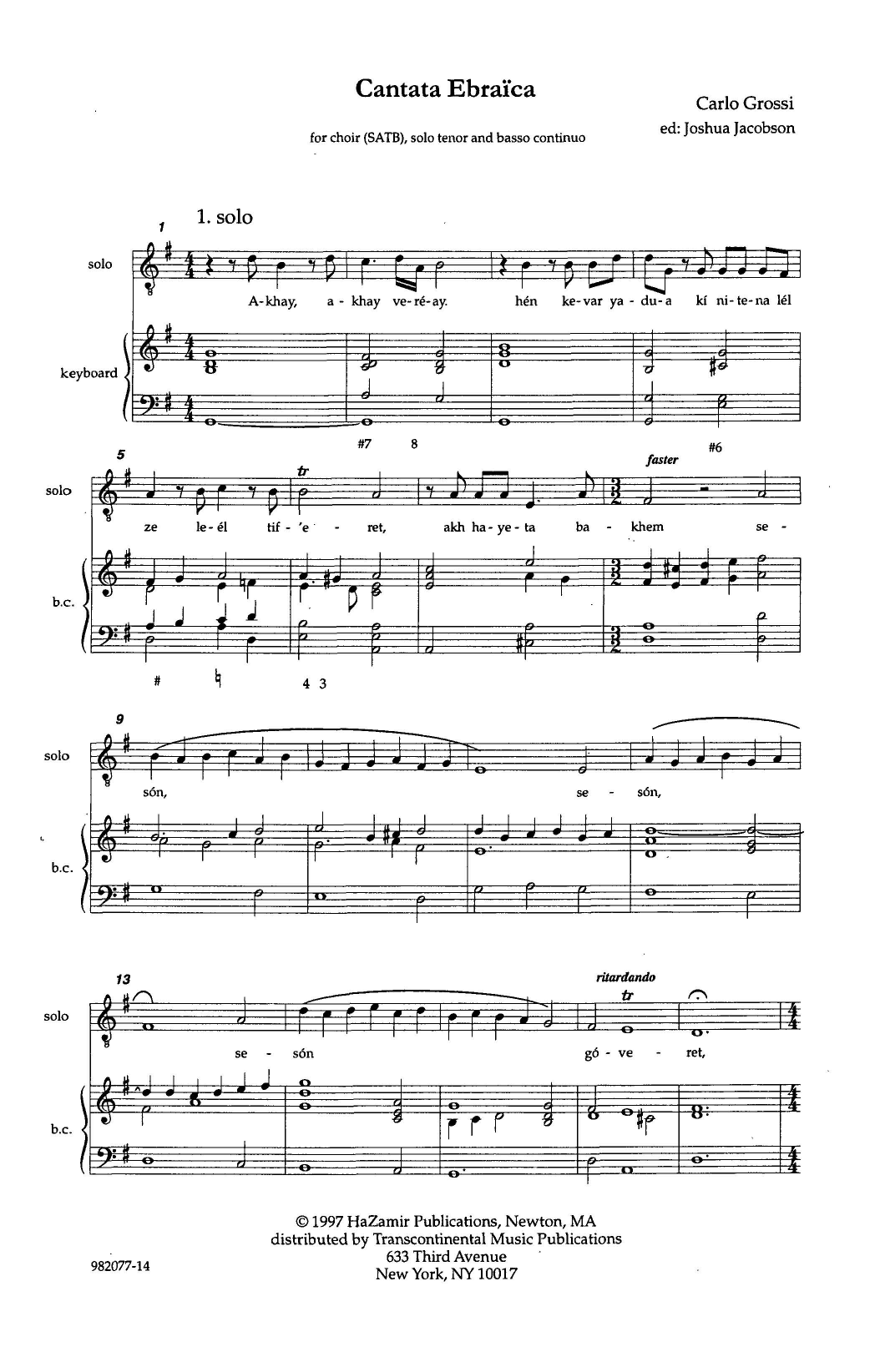 Cantata Ebraica Sheet Music