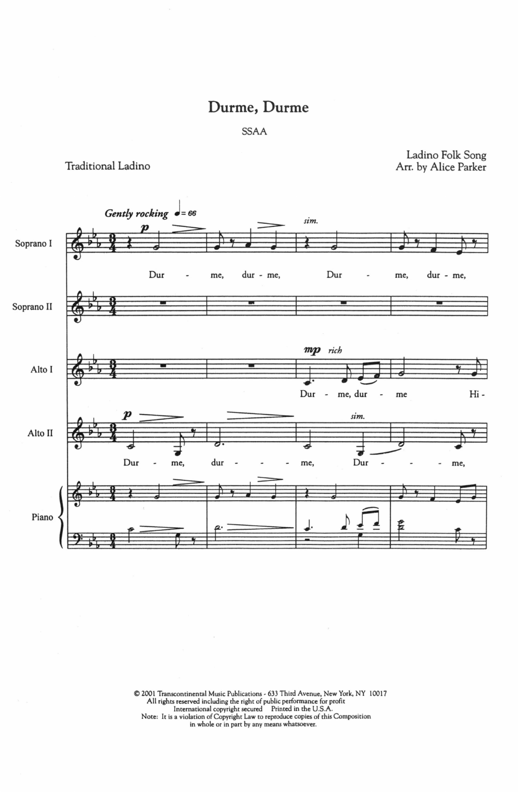 Durme, Durme Sheet Music