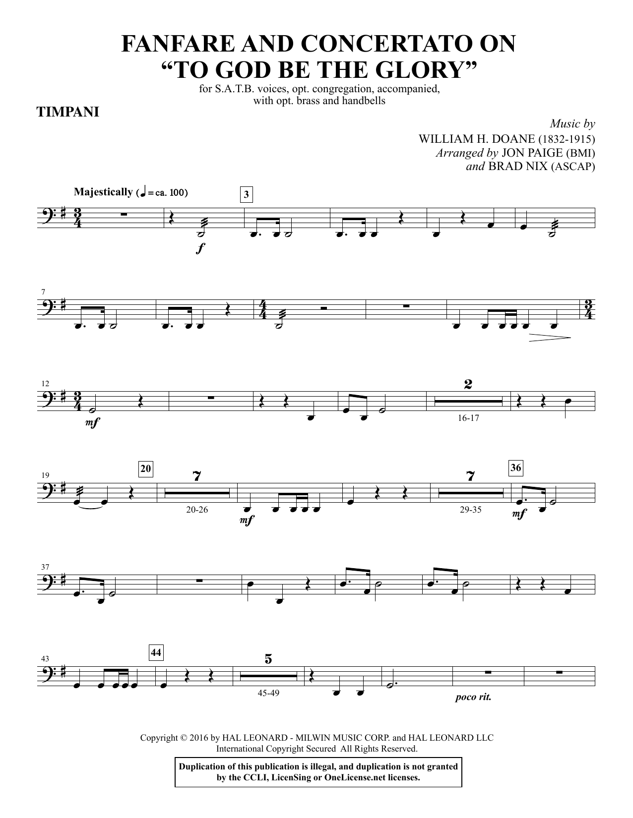 "Fanfare and Concertato on ""To God Be the Glory"" - Timpani Sheet Music"