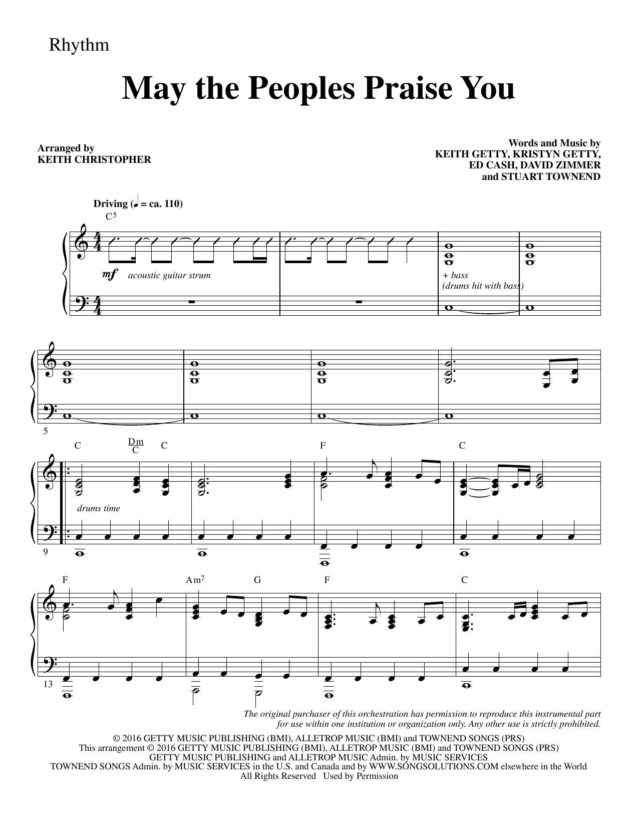 May the Peoples Praise You - Rhythm Sheet Music