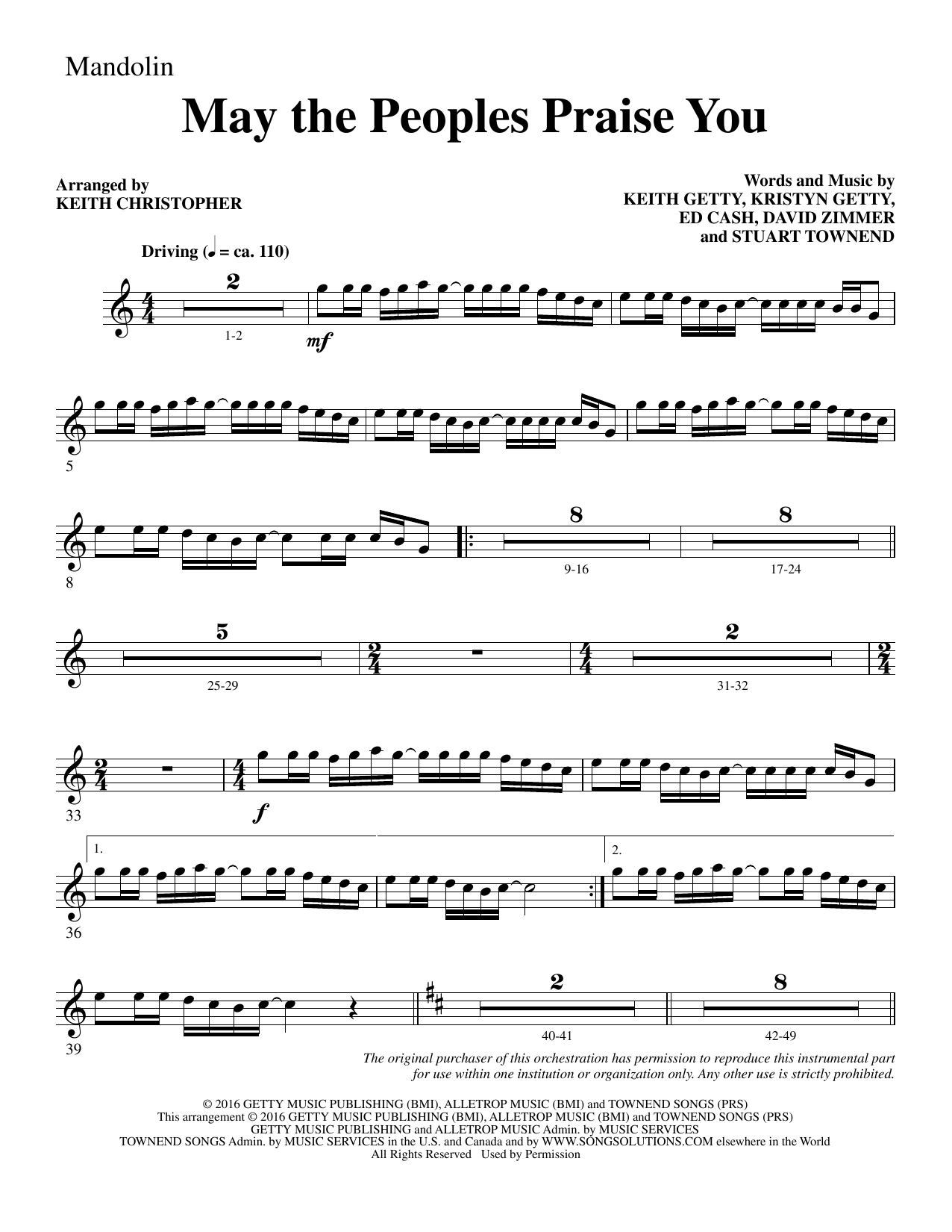 May the Peoples Praise You - Mandolin Sheet Music