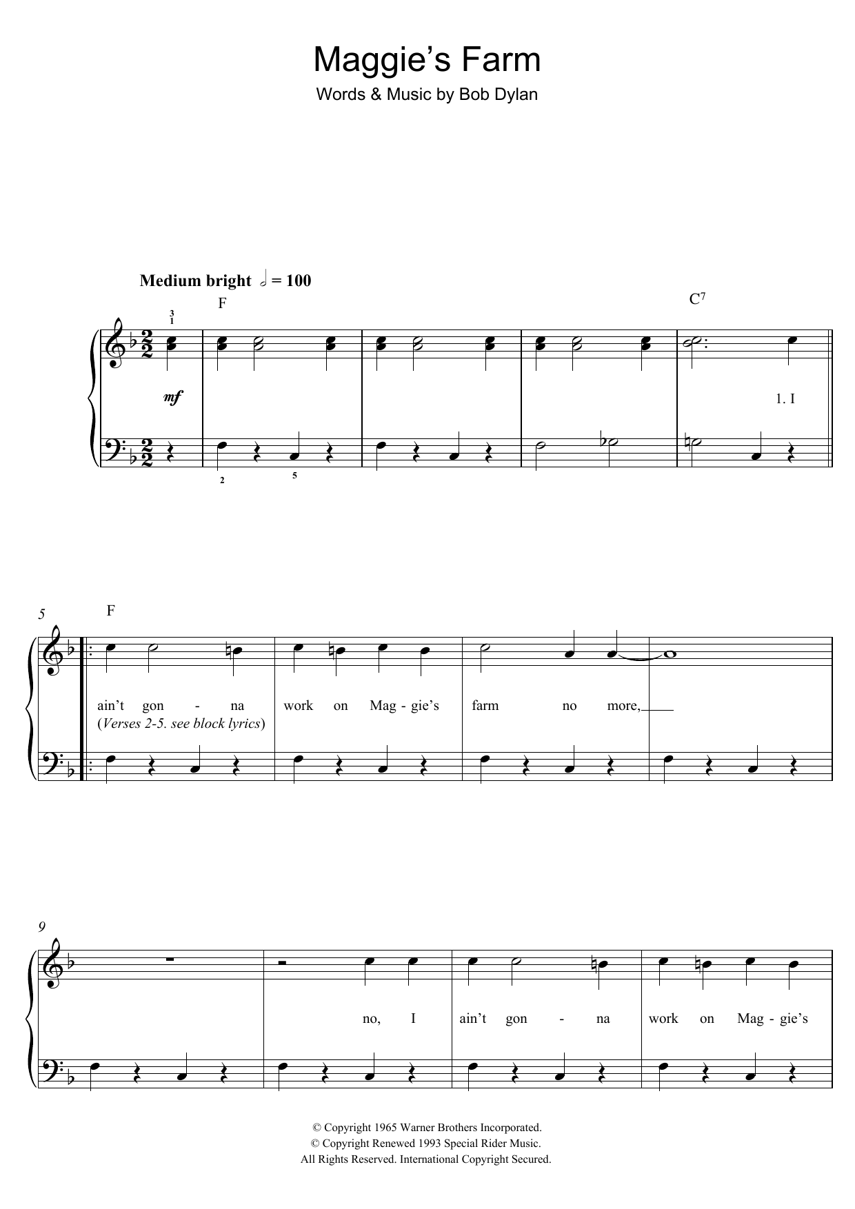 Maggie's Farm Sheet Music