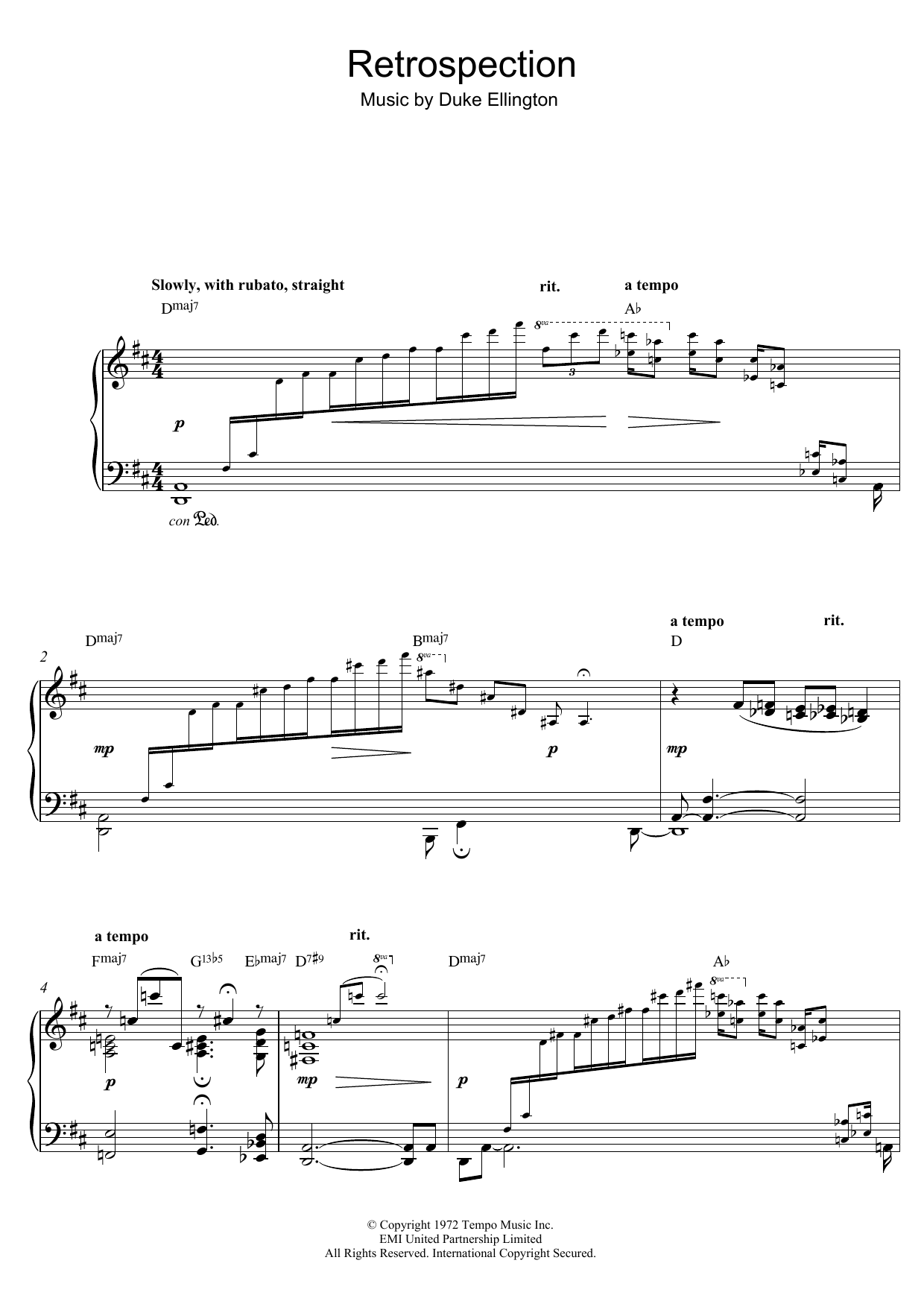 Retrospection Sheet Music