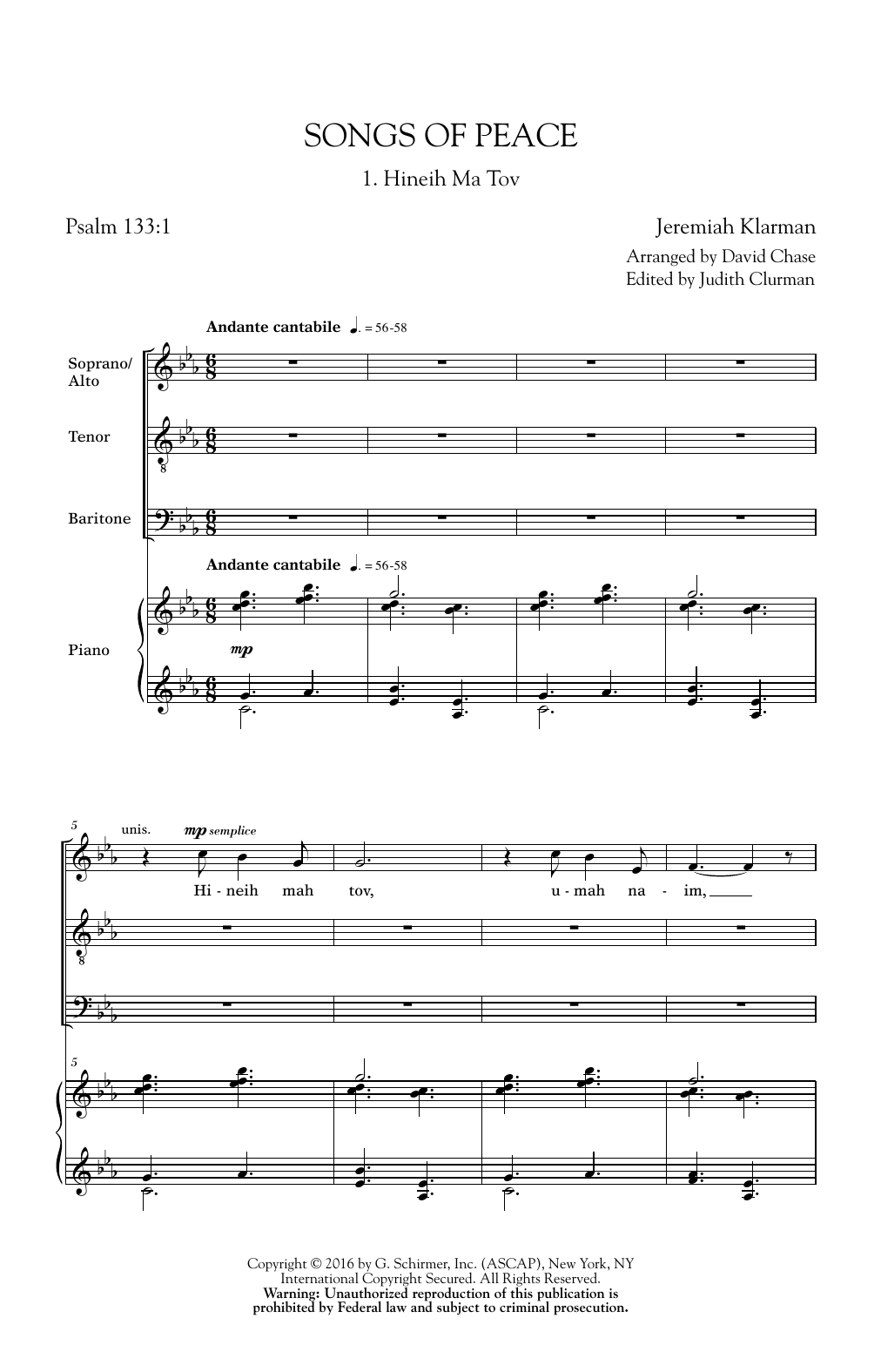 Songs Of Peace (SATB Choir)