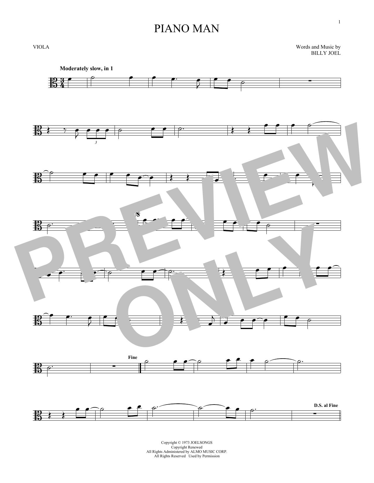 Piano Man (Viola Solo)