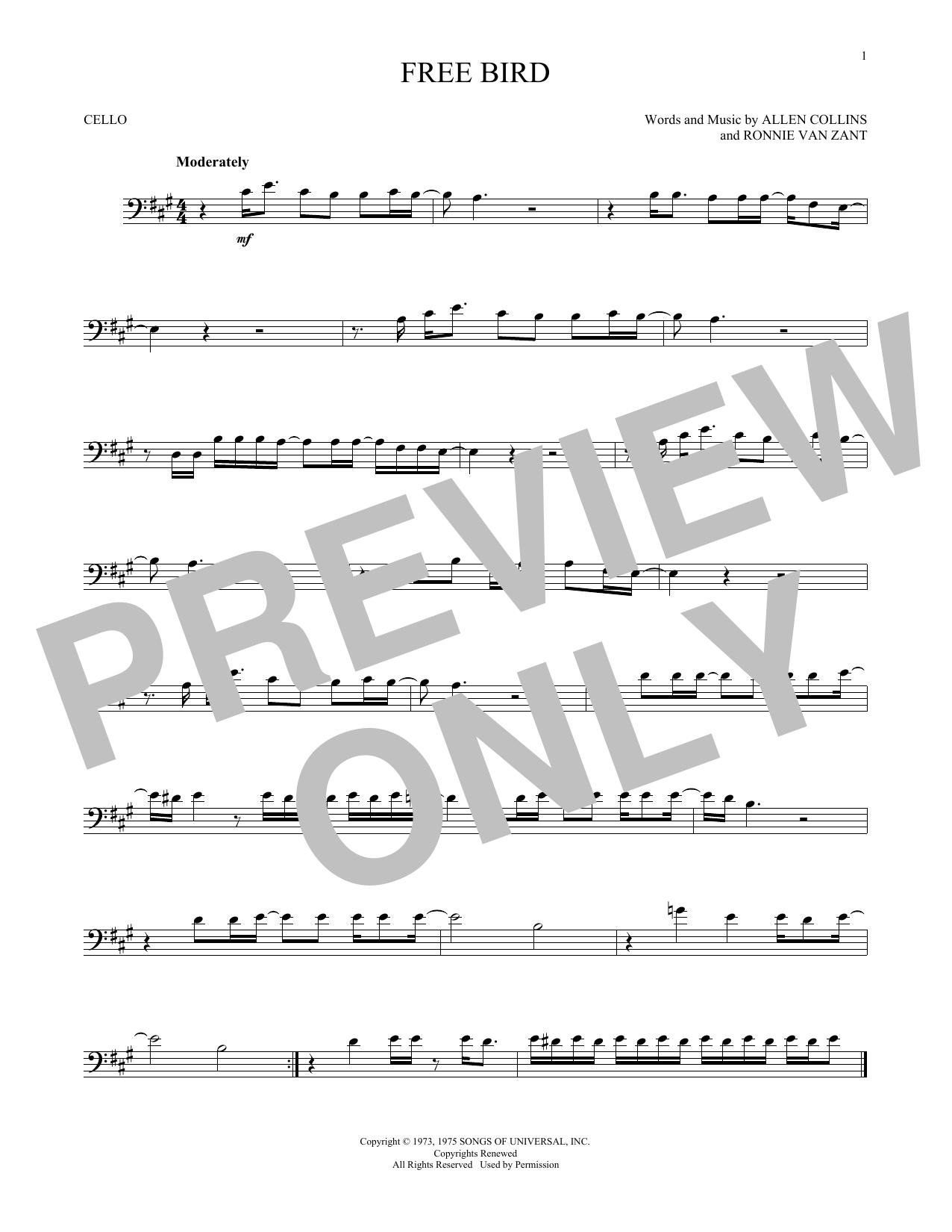 Free Bird Print Sheet Music Now