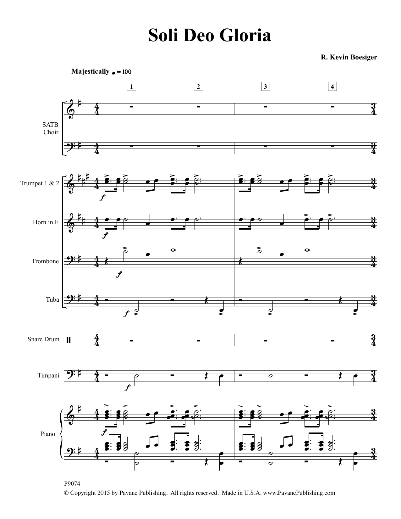 Soli Deo Gloria (COMPLETE) sheet music for orchestra/band by R. Kevin Boesiger. Score Image Preview.