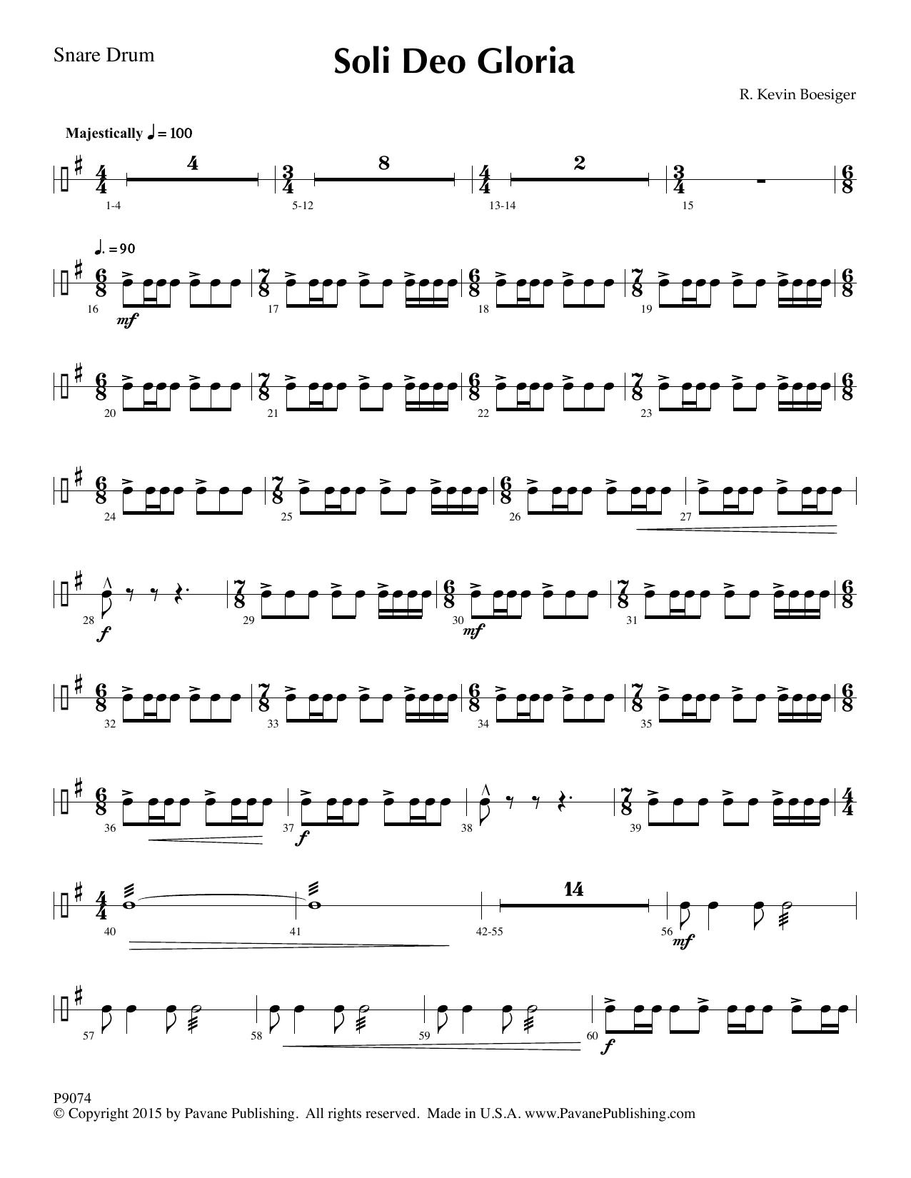 Soli Deo Gloria - Snare Drum Sheet Music