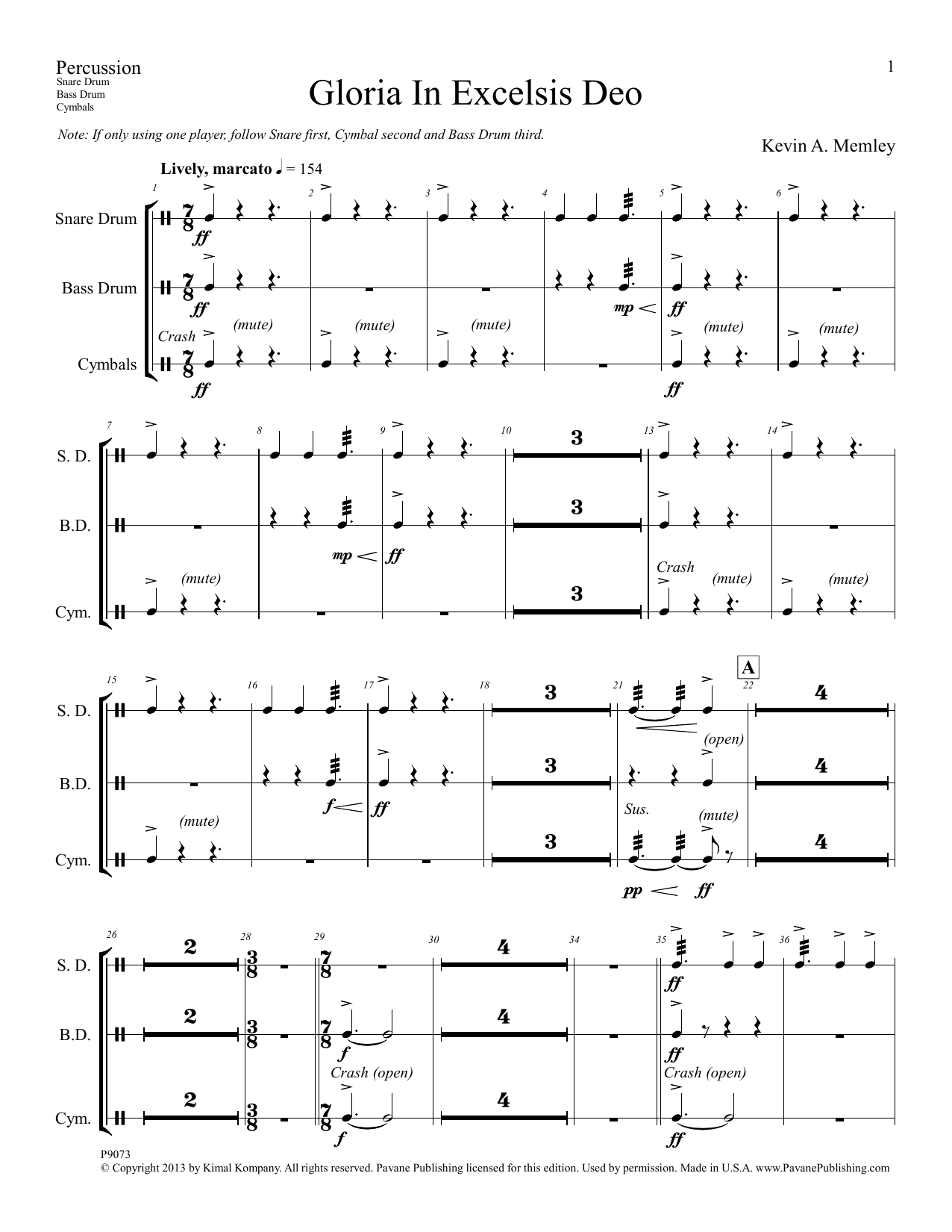 Gloria in Excelsis Deo - Percussion Sheet Music