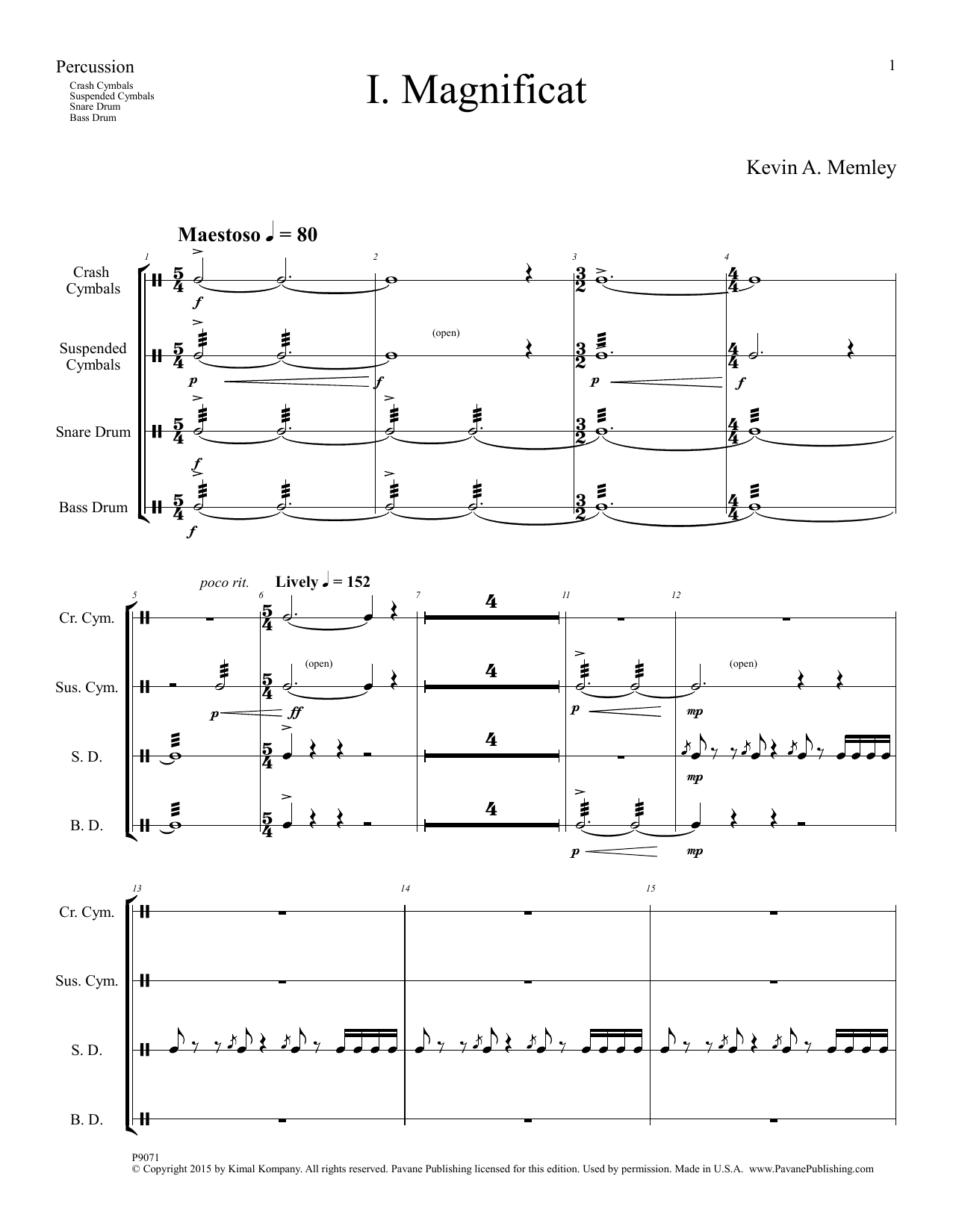 Magnificat (Full Orchestra) (Parts) - Percussion Sheet Music