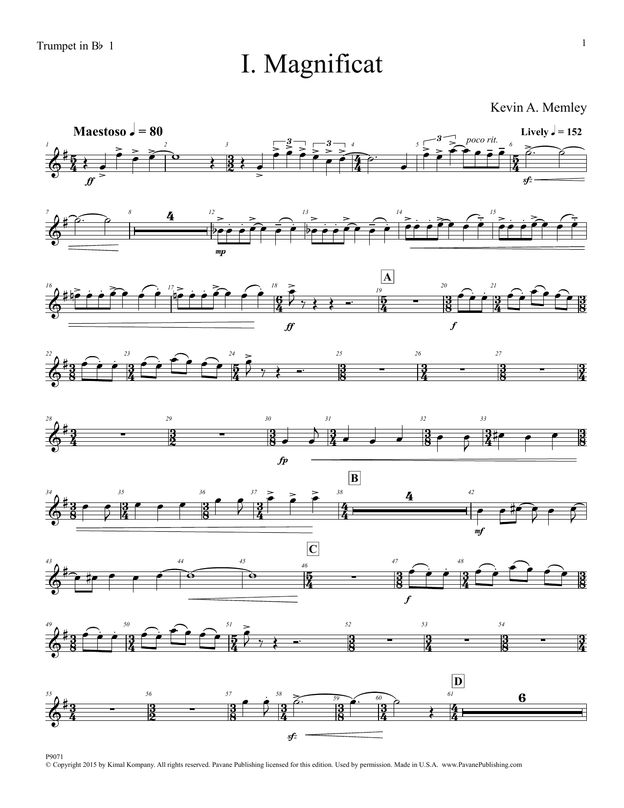 Magnificat (Full Orchestra) (Parts) - Trumpet 1 in Bb Sheet Music