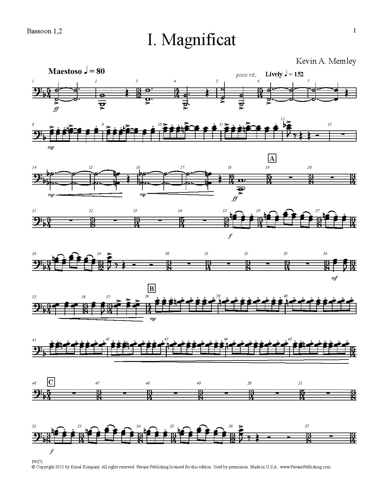 Magnificat - Bassoon 1, 2 Sheet Music