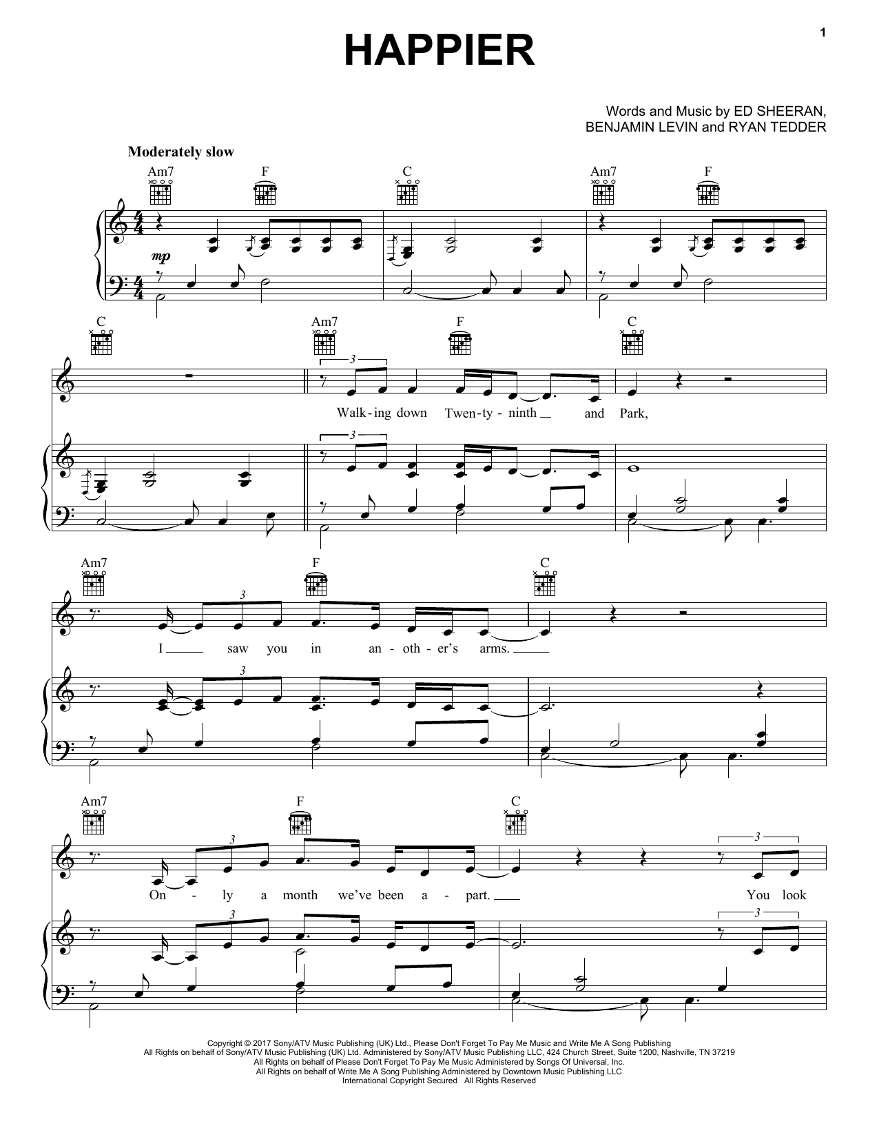 Happier (Piano, Vocal & Guitar (Right-Hand Melody))