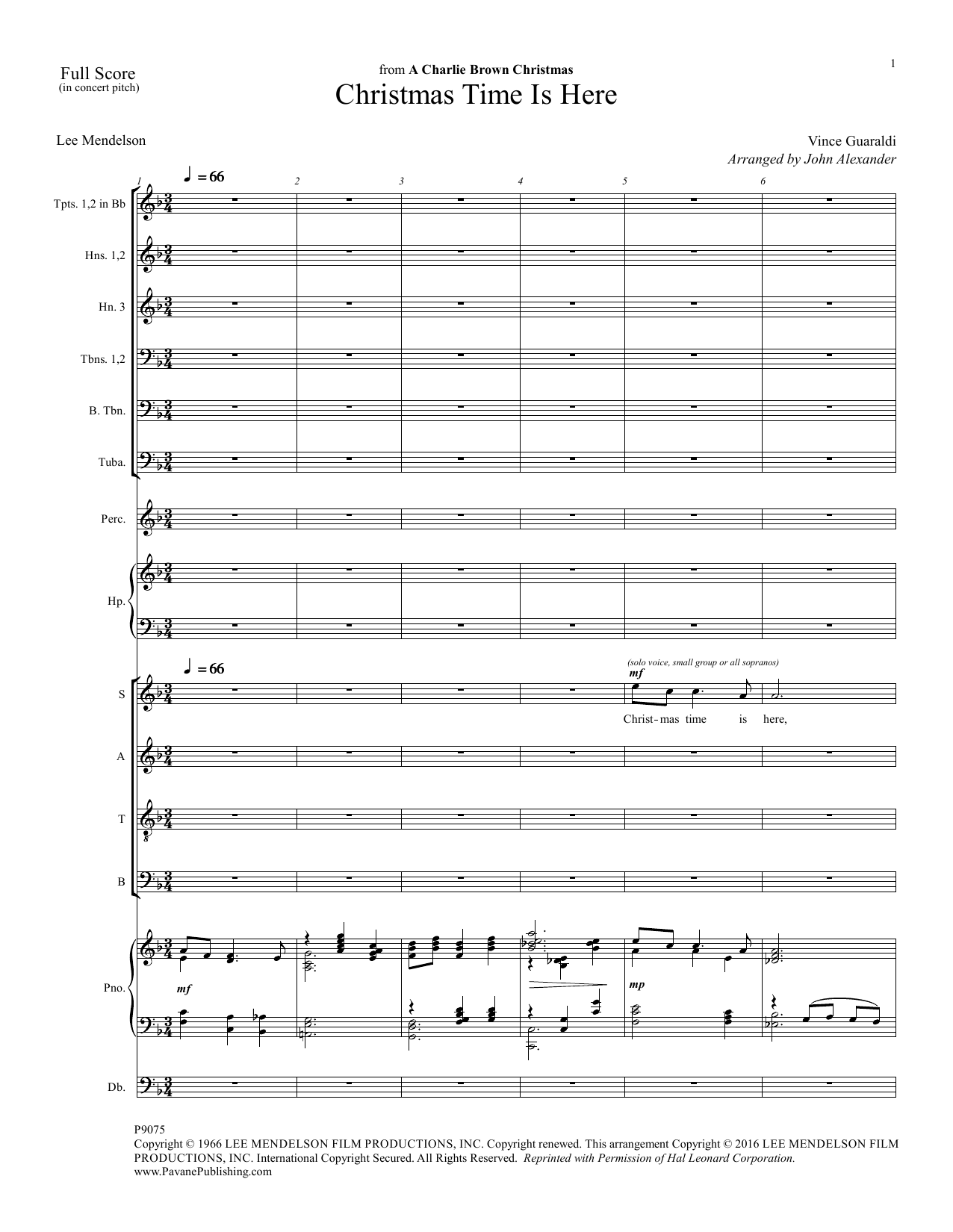 Christmas Time Is Here (COMPLETE) sheet music for orchestra/band by Vince Guaraldi, John Alexander and Lee Mendelson. Score Image Preview.