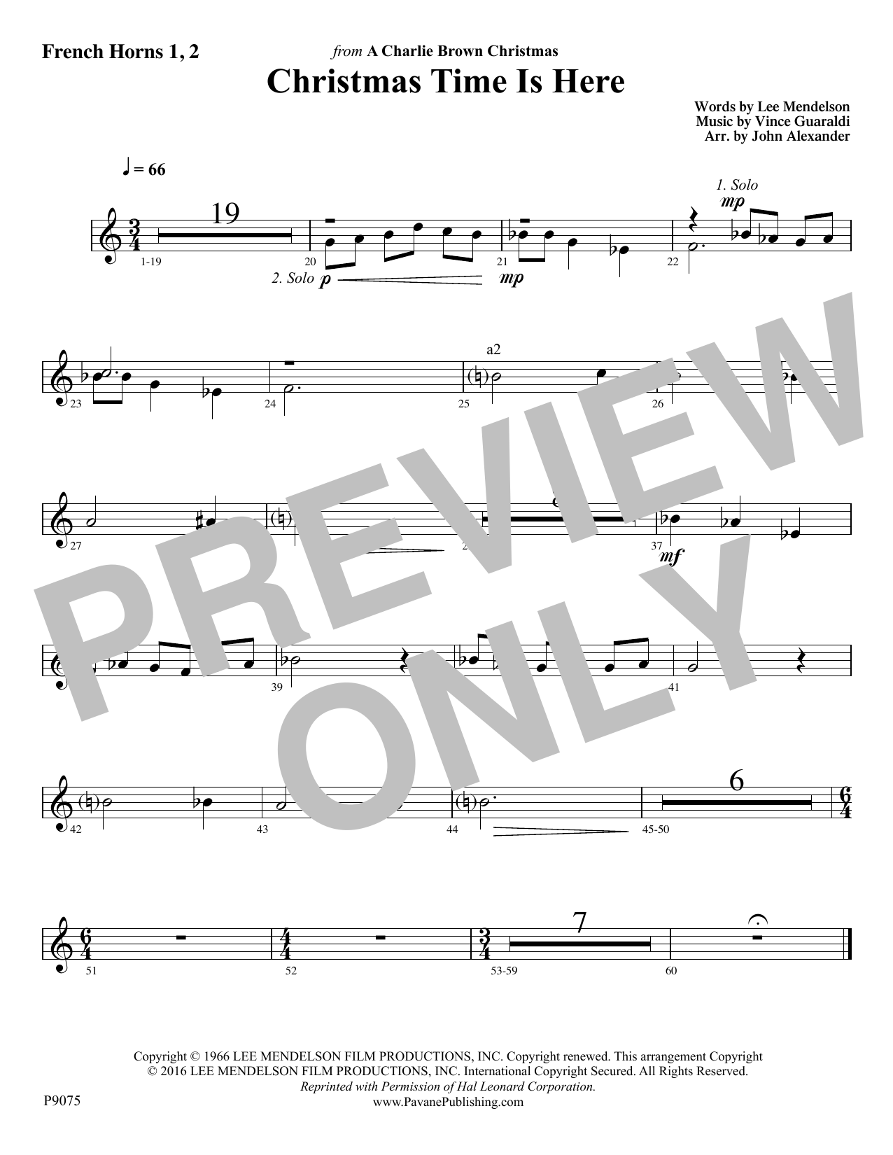 Christmas Time Is Here - F Horn 1 & 2 Sheet Music