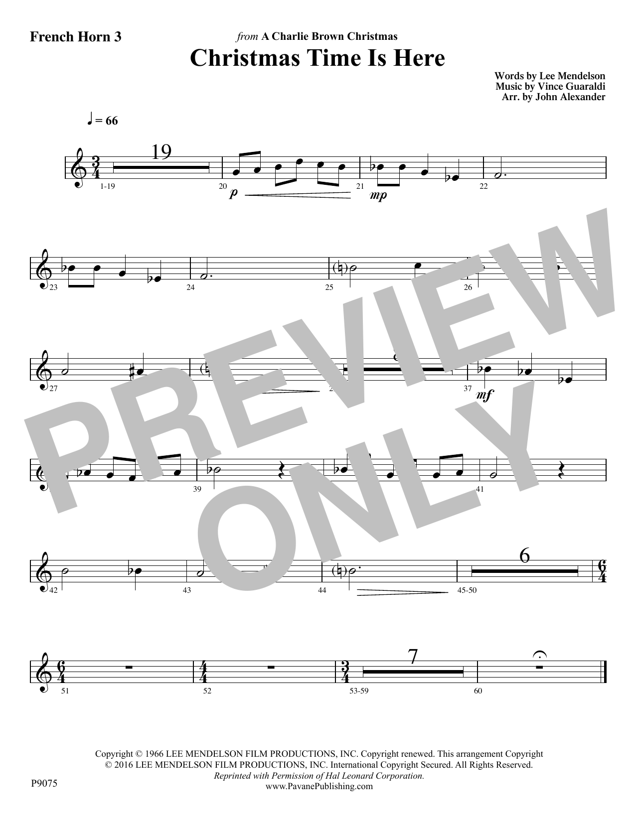 Christmas Time Is Here - F Horn 3 Sheet Music