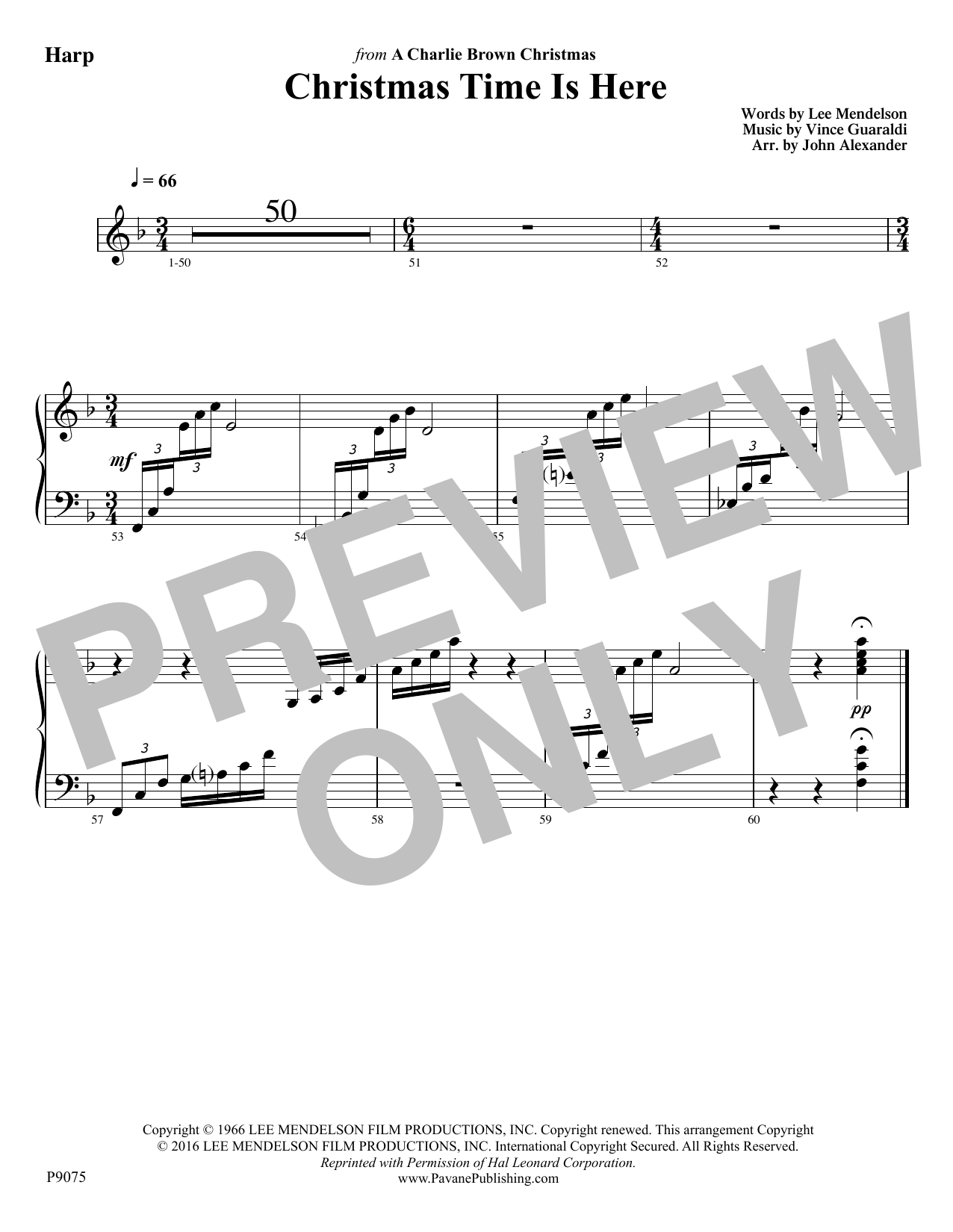 Christmas Time Is Here - Harp Sheet Music