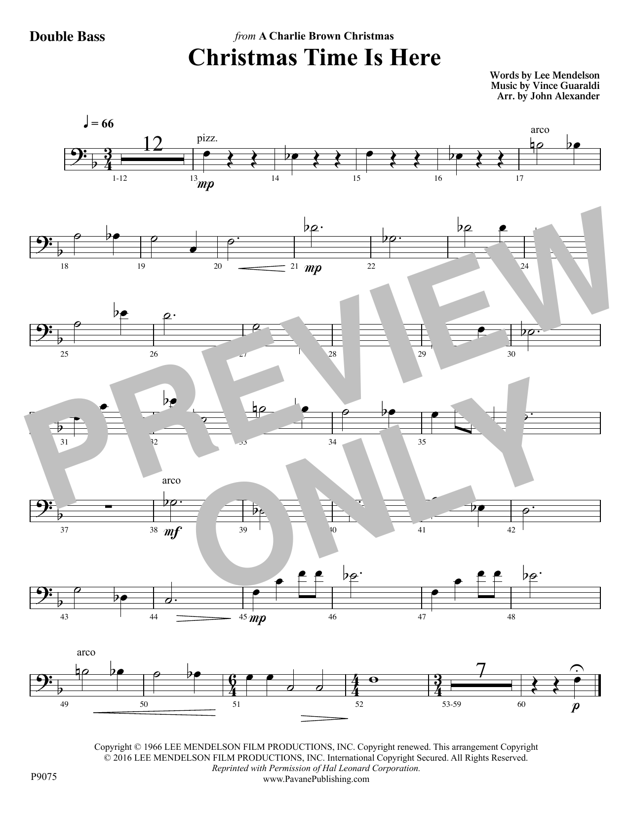 Christmas Time Is Here - Double Bass Sheet Music