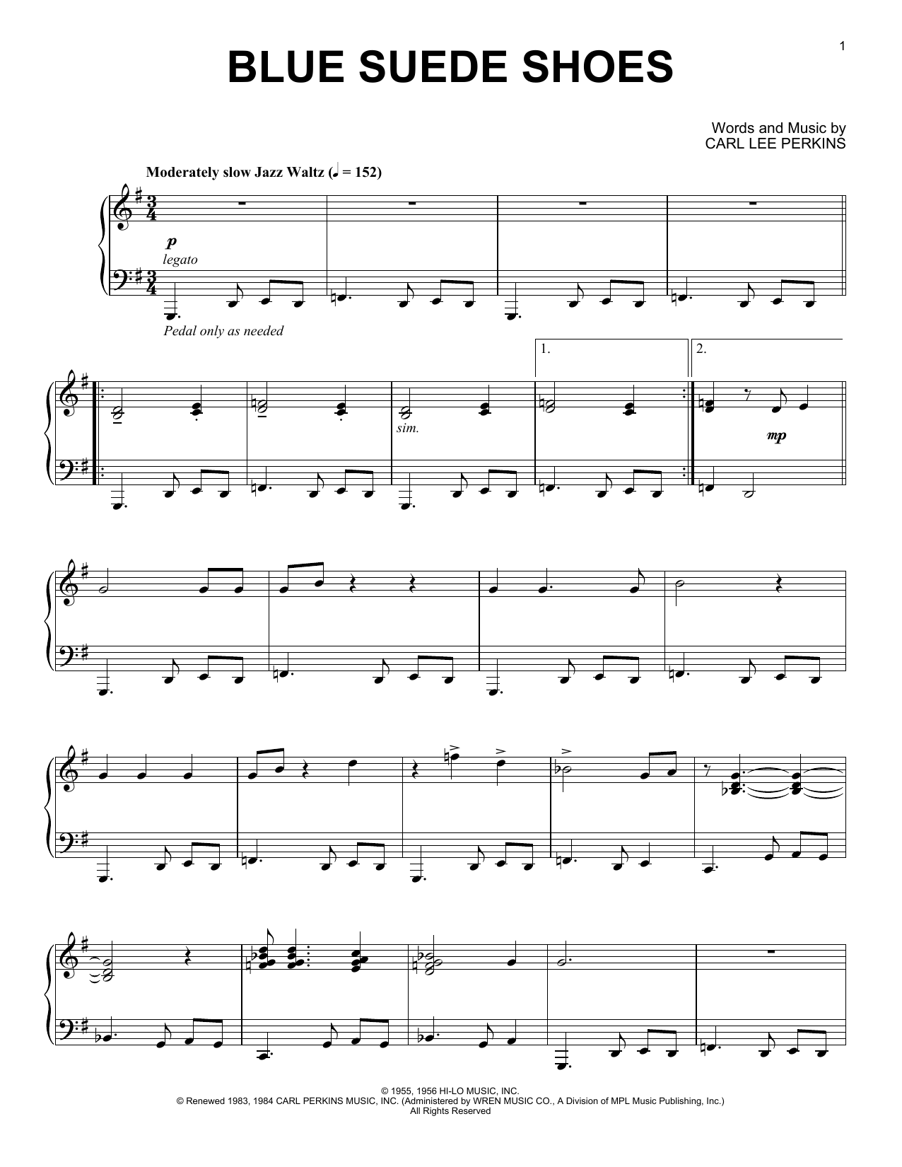 Blue Suede Shoes [Jazz version] (Piano Solo)