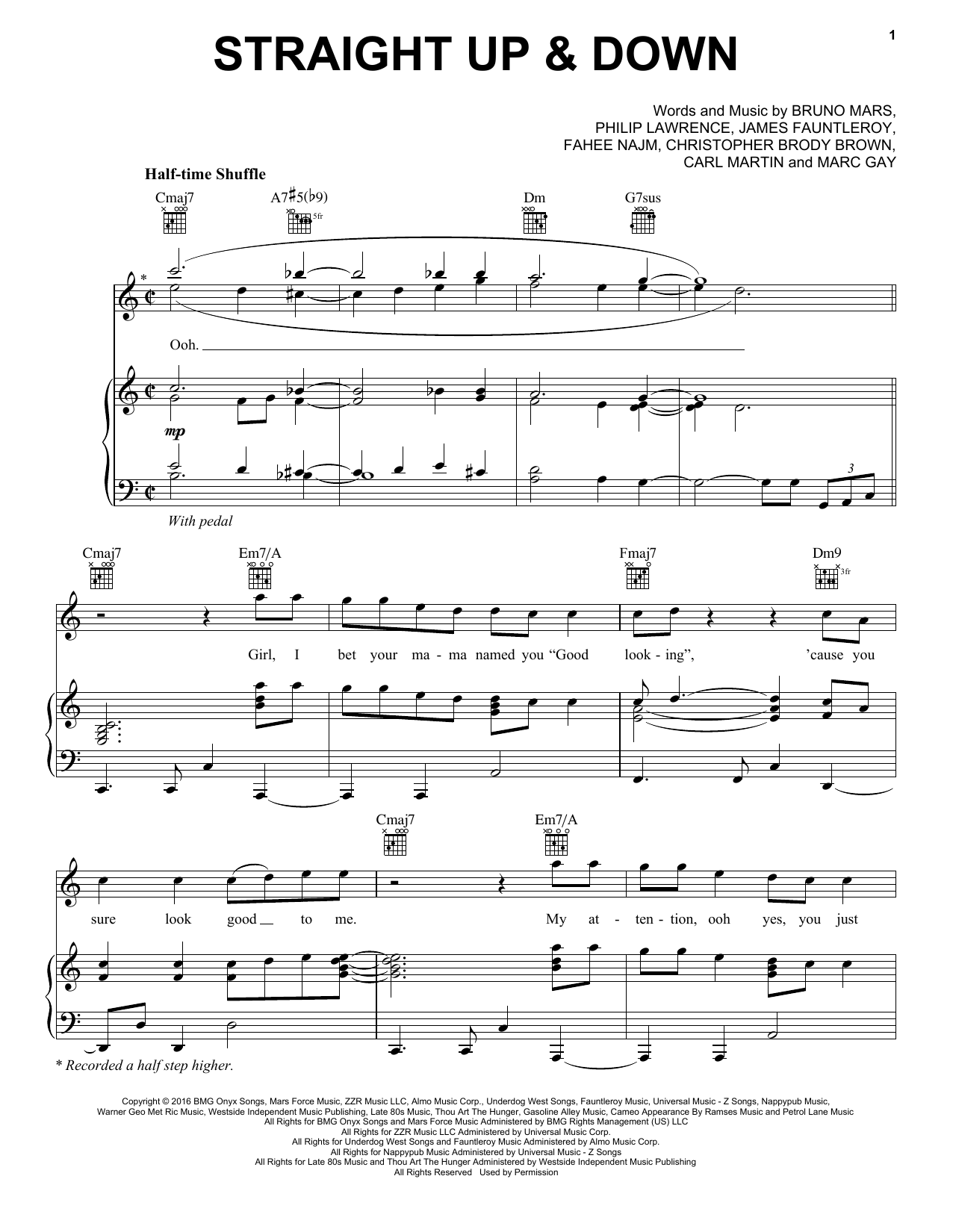 Straight Up & Down (Piano, Vocal & Guitar (Right-Hand Melody))