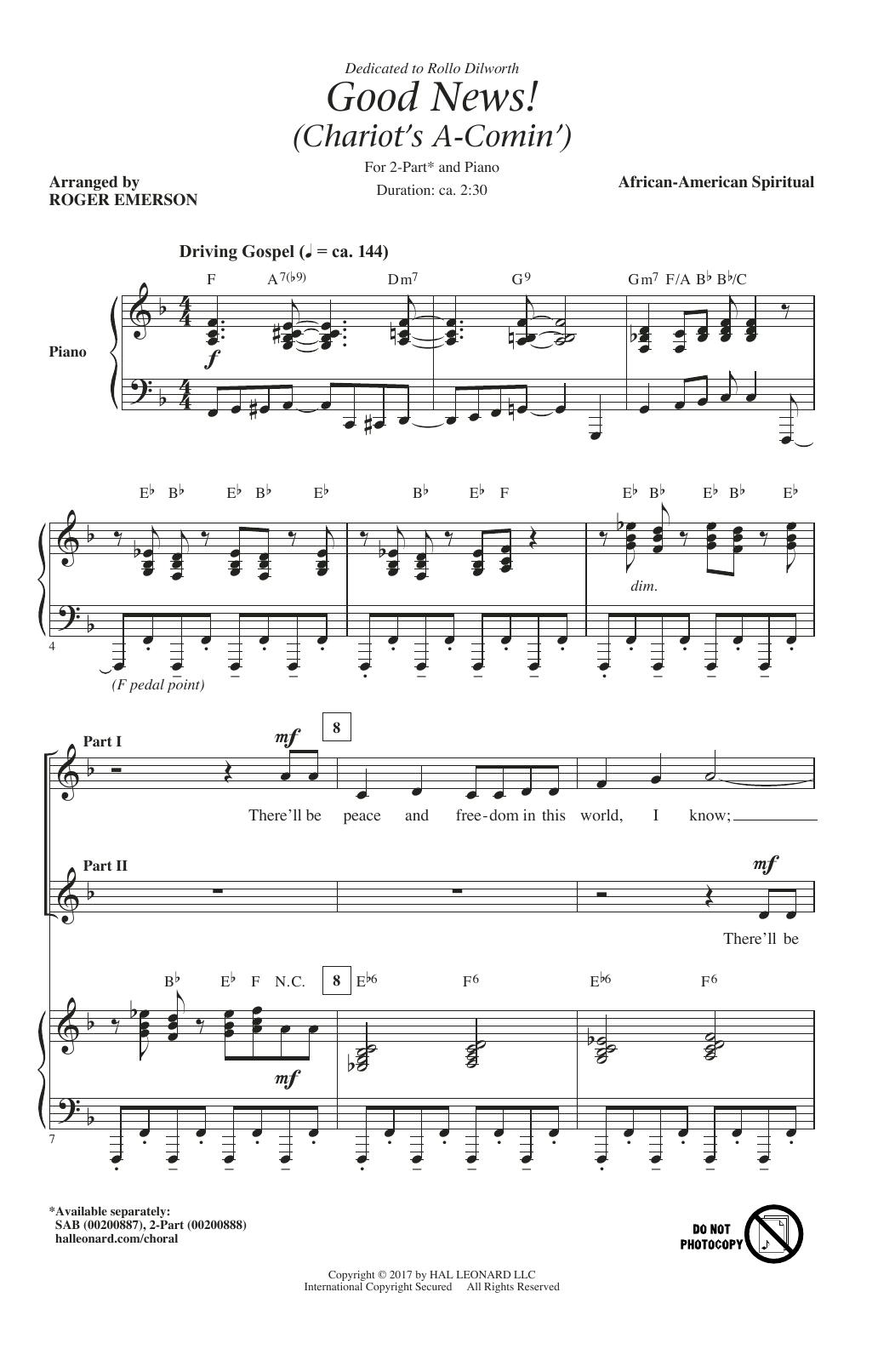 Partition chorale Good News, The Chariot's Comin' de Roger Emerson - 2 voix