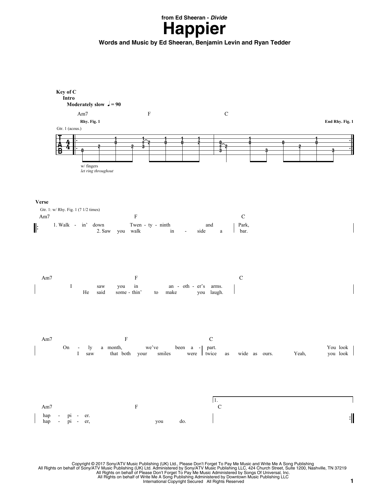 Happier Sheet Music | Ed Sheeran | Guitar Tab
