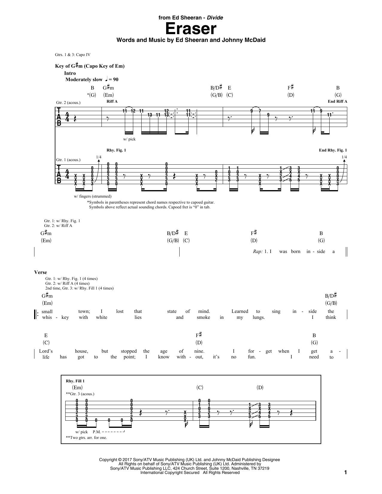 Eraser sheet music direct - Ed sheeran dive chords ...