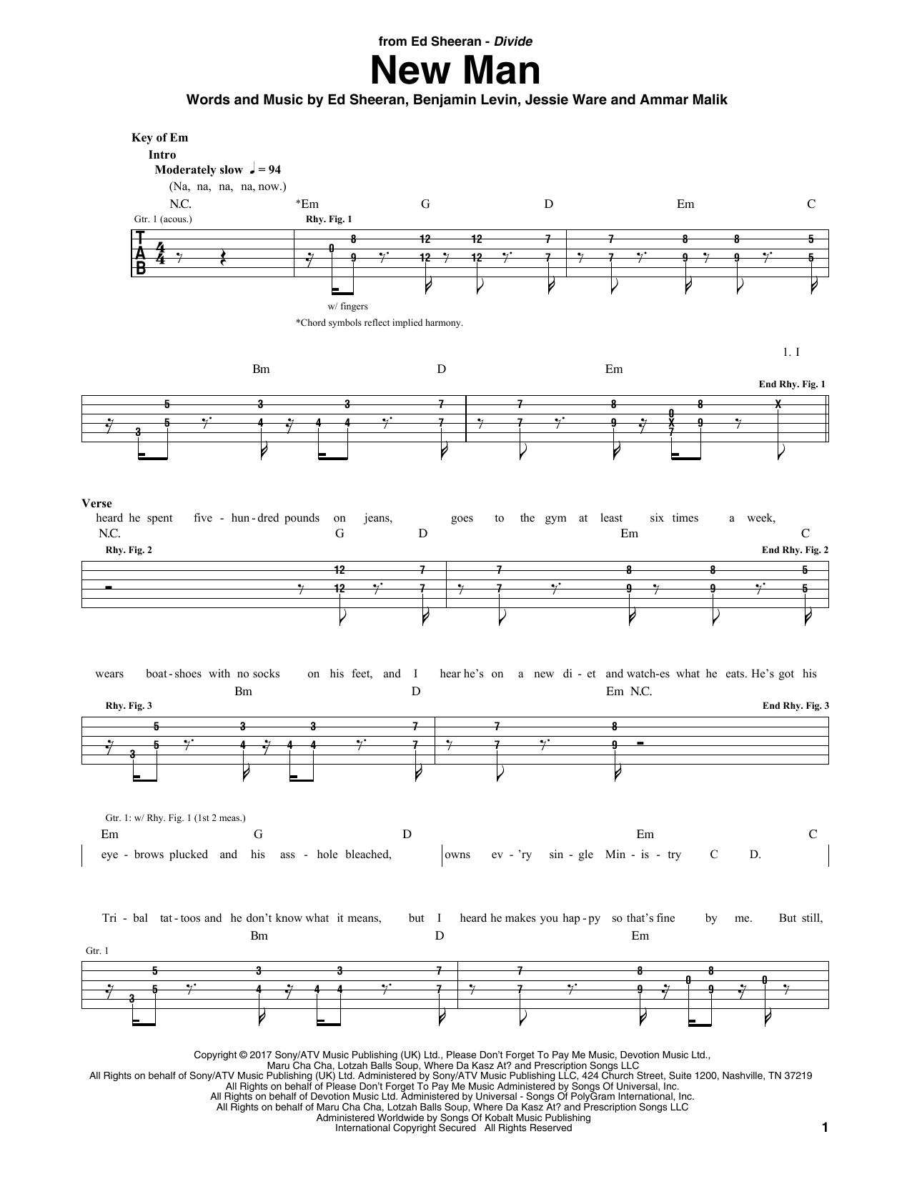 New Man (Guitar Rhythm Tab)