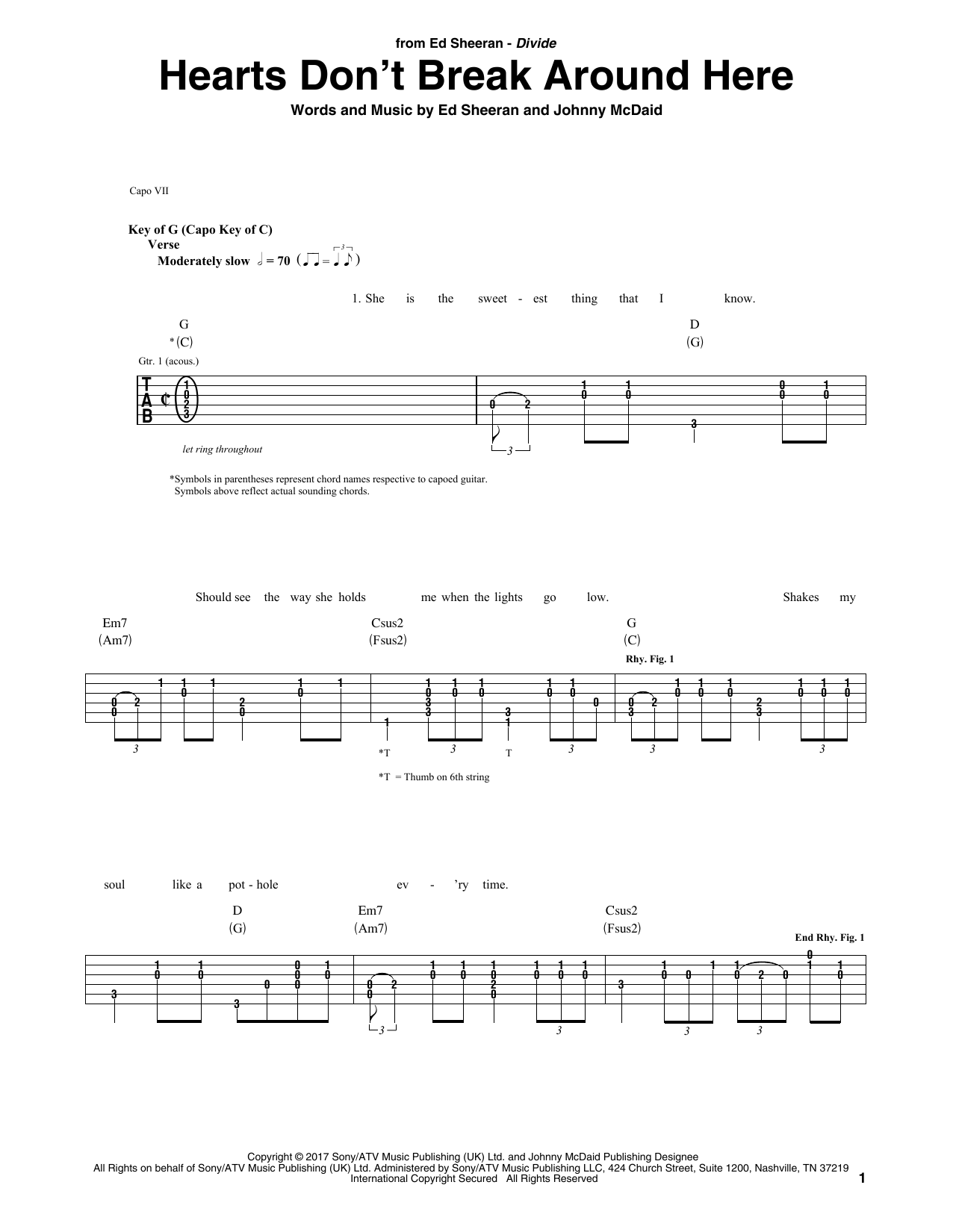 Hearts Dont Break Around Here Guitar Tab By Ed Sheeran Guitar Tab