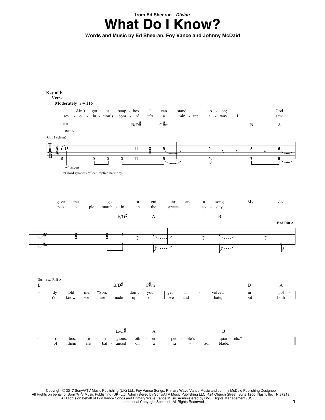 What Do I Know? (Guitar Tab)