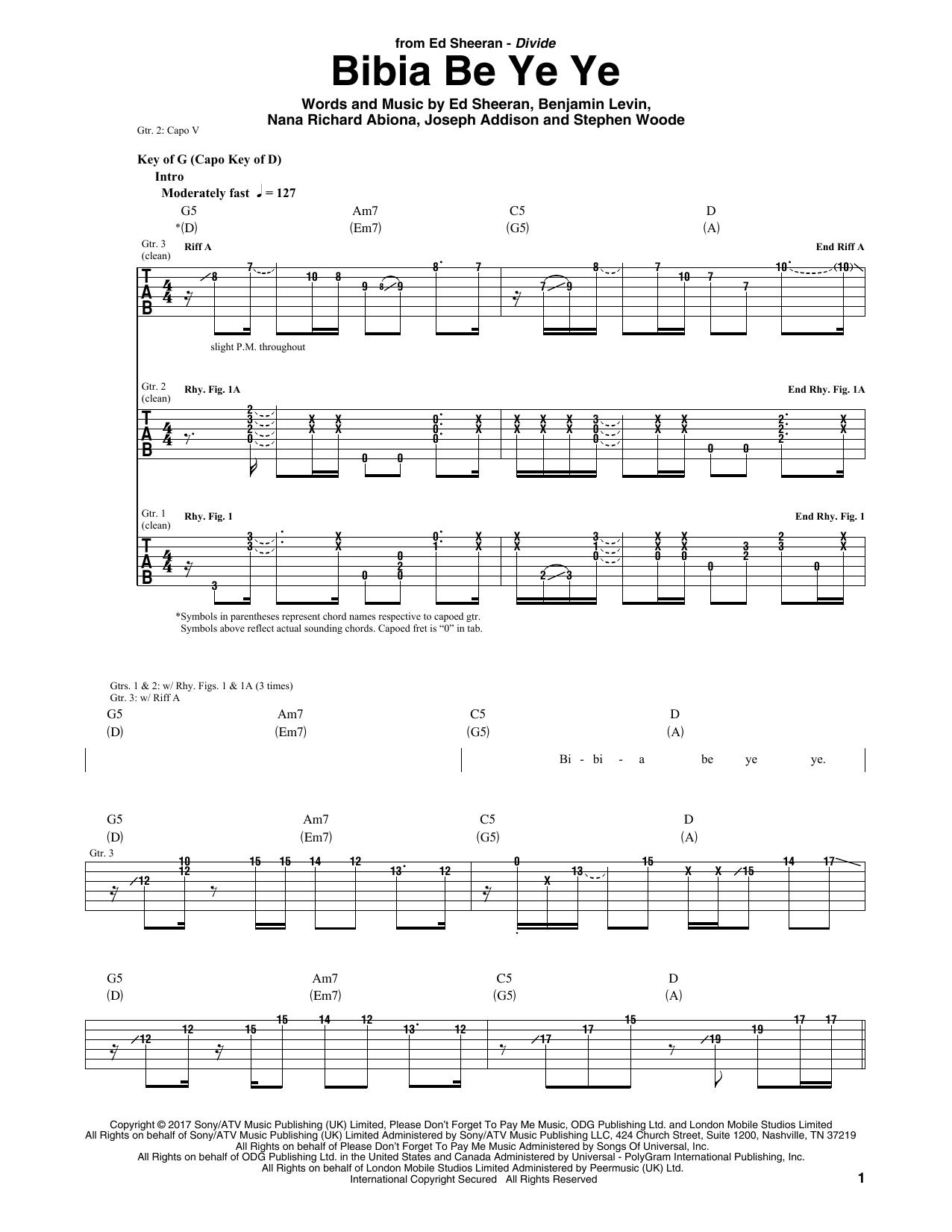 Bibia Be Ye Ye Guitar Tab By Ed Sheeran Guitar Tab 181784