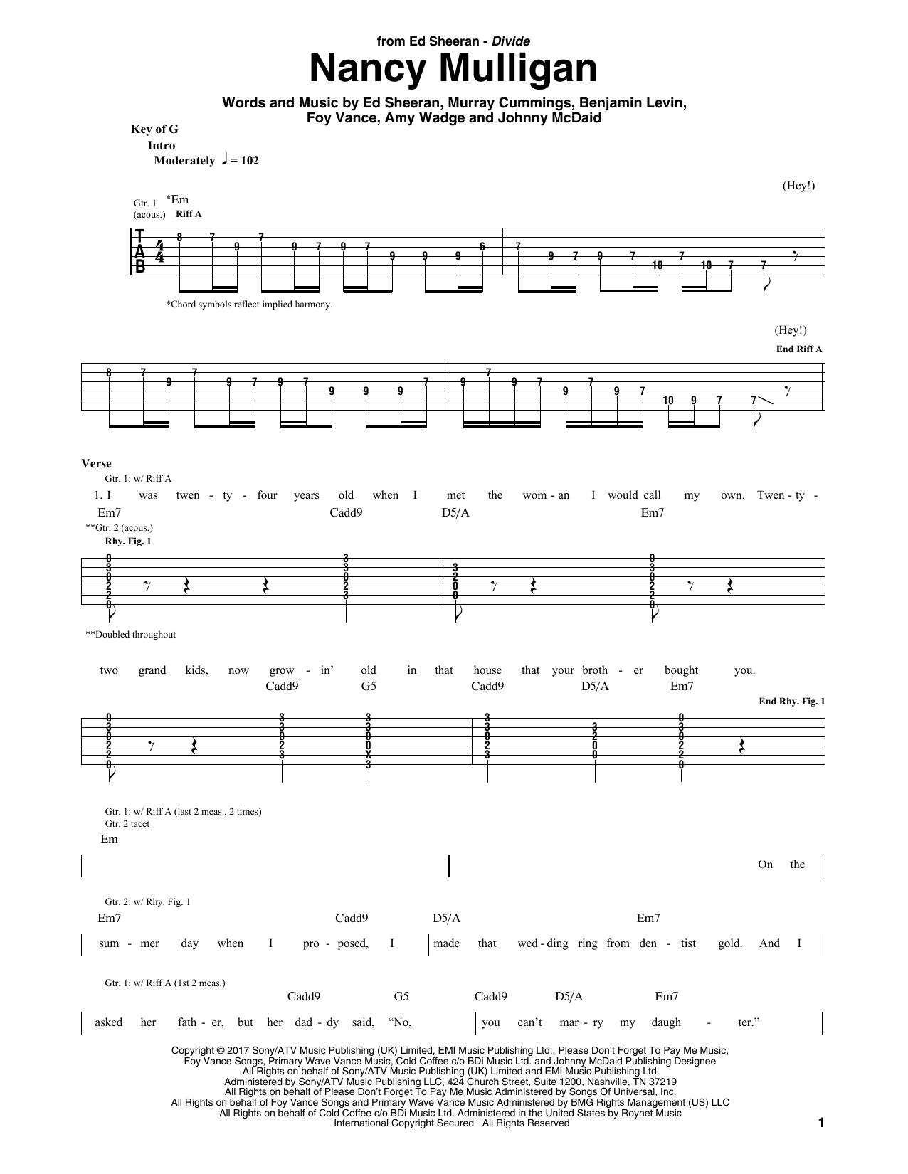 Nancy Mulligan (Guitar Rhythm Tab)