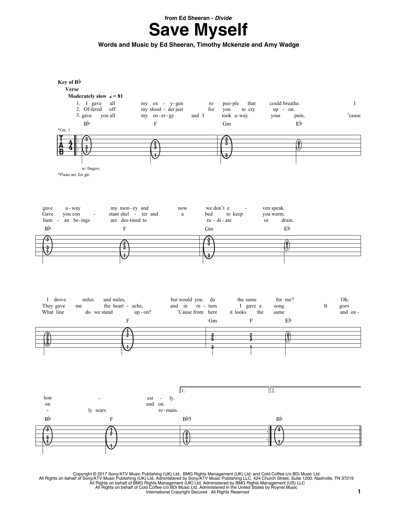 Save Myself (Guitar Tab)