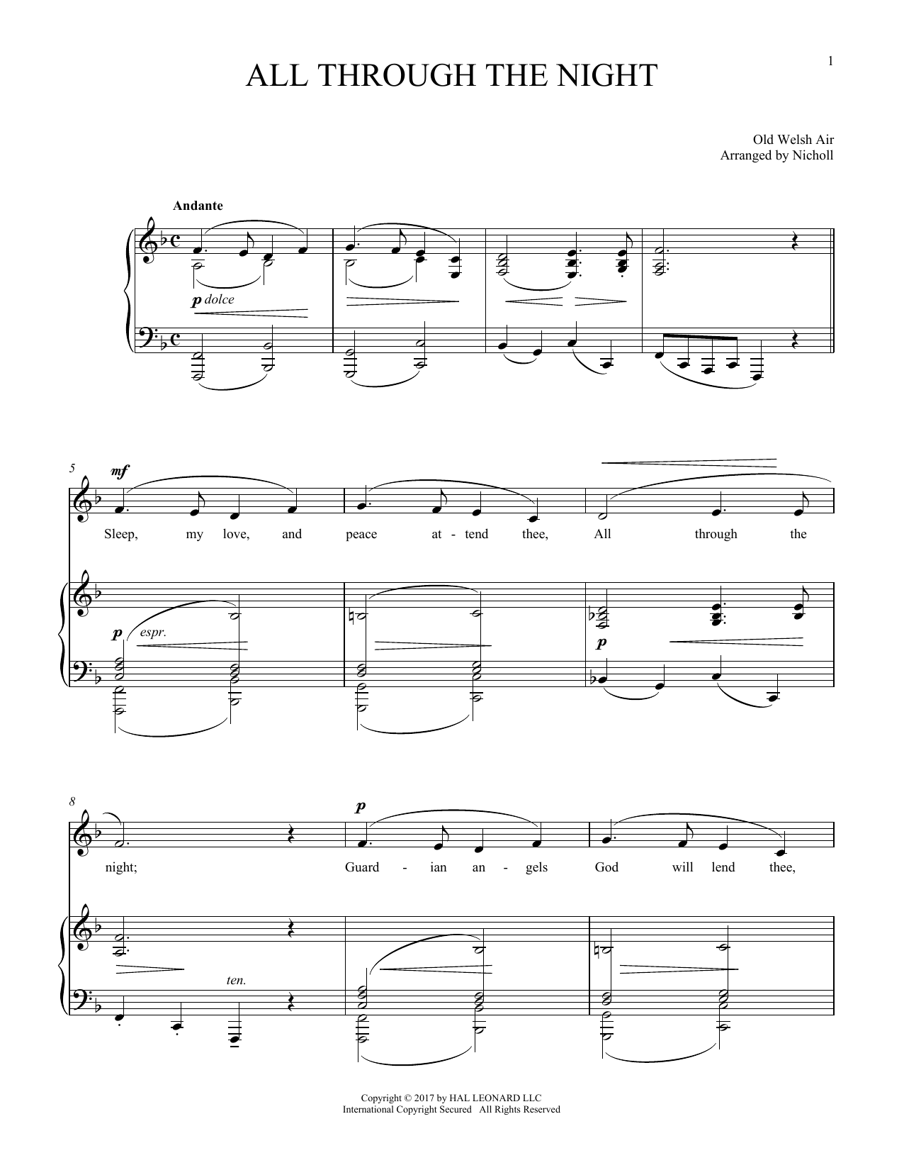 All Through The Night (Piano & Vocal)