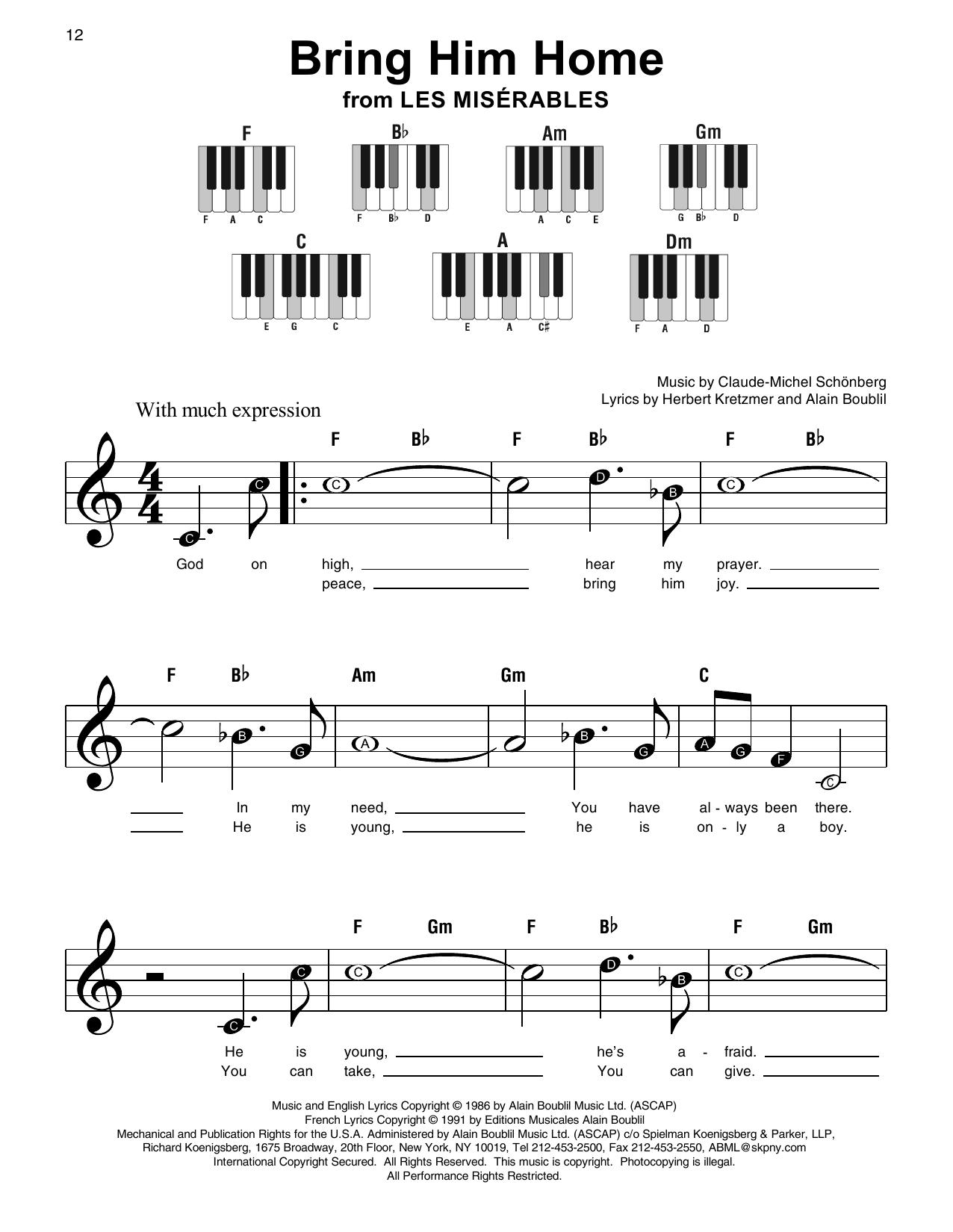 Bring Him Home sheet music by Claude Michel Schonberg Super Easy