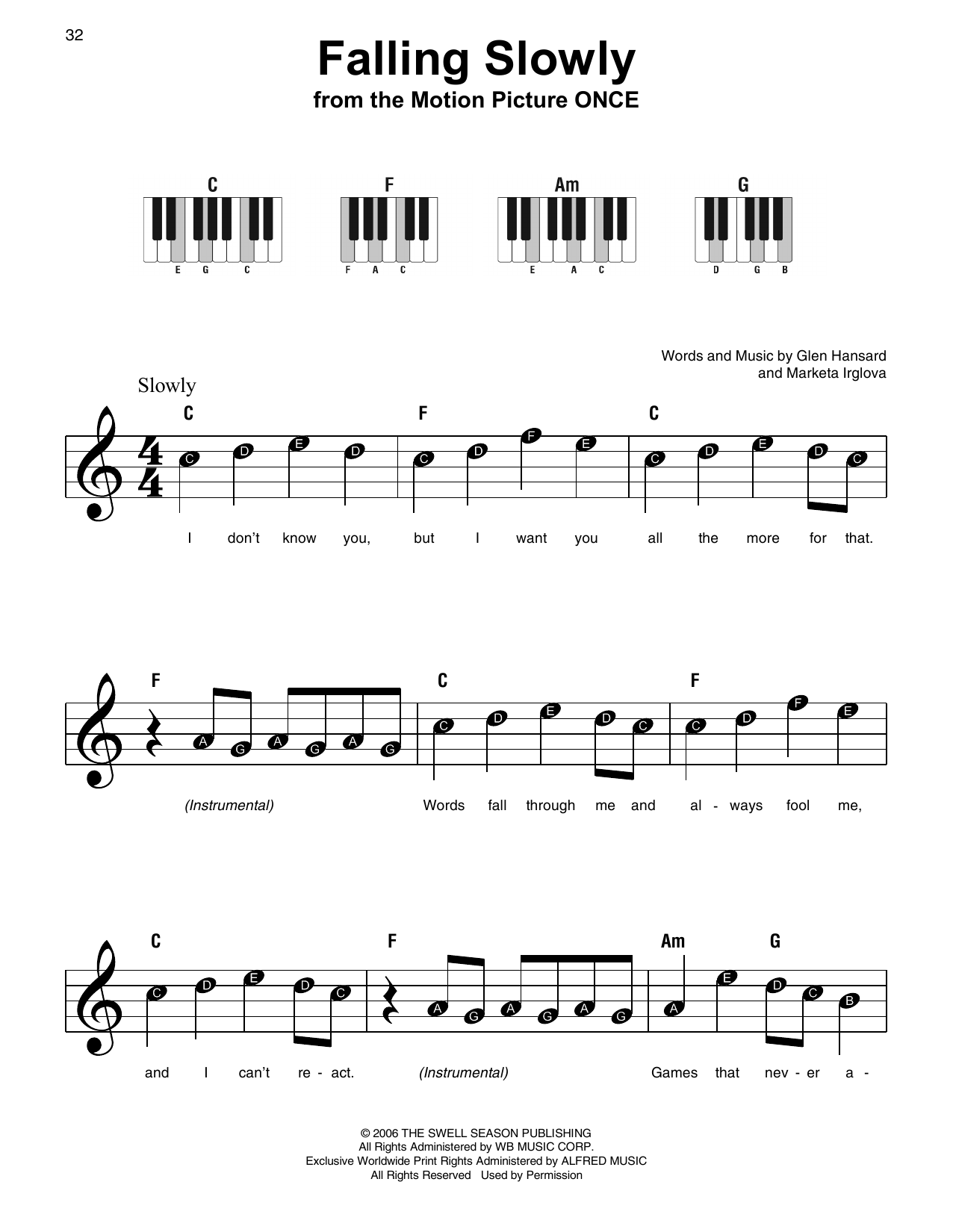 Falling Slowly By Glen Hansard Guitar Chordslyrics Digital Sheet Music