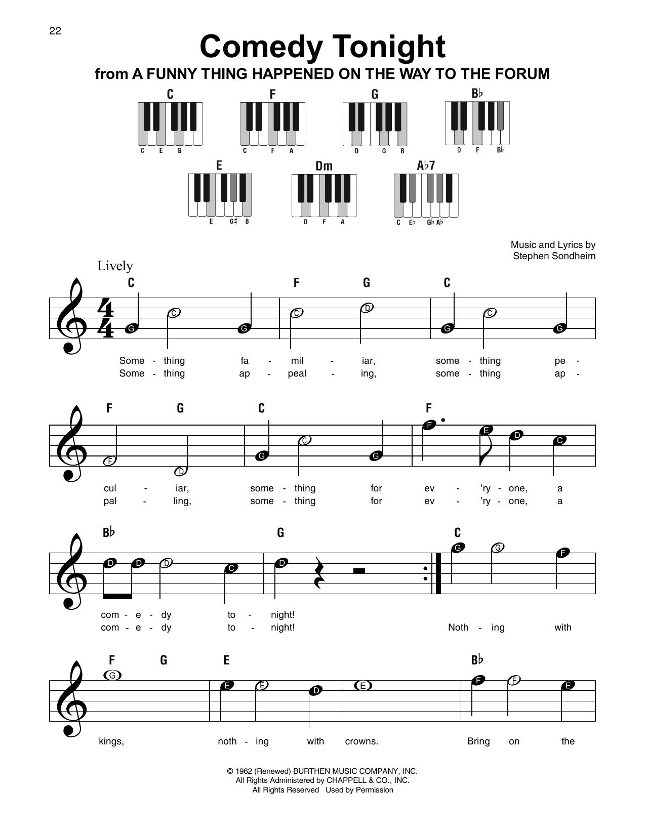Comedy Tonight (Super Easy Piano)