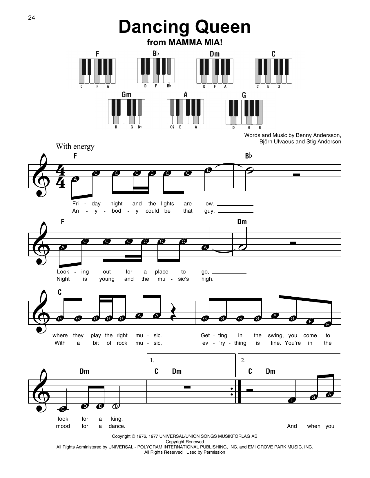 how to play dancing queen on piano easy