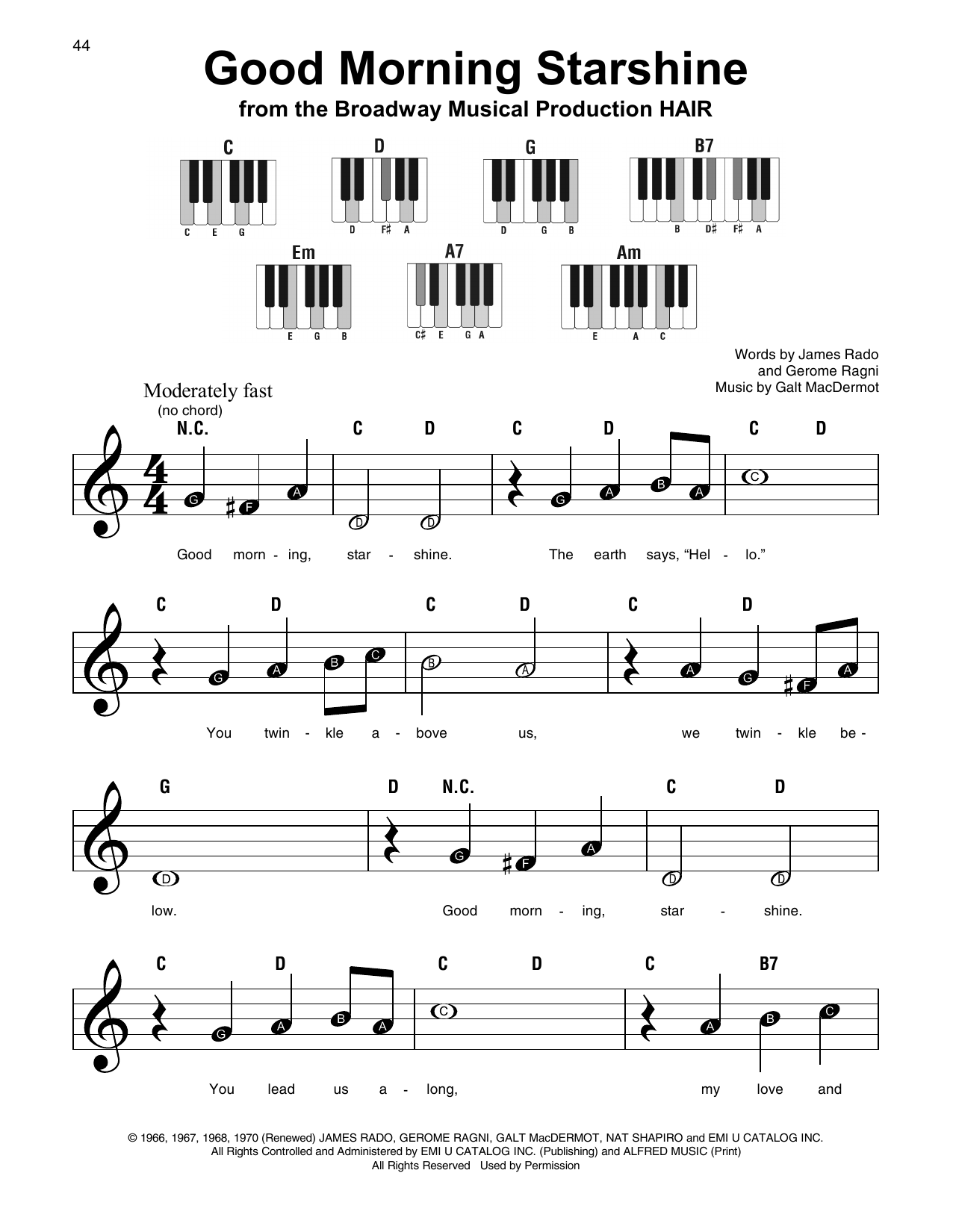 Good Morning Starshine (Super Easy Piano)